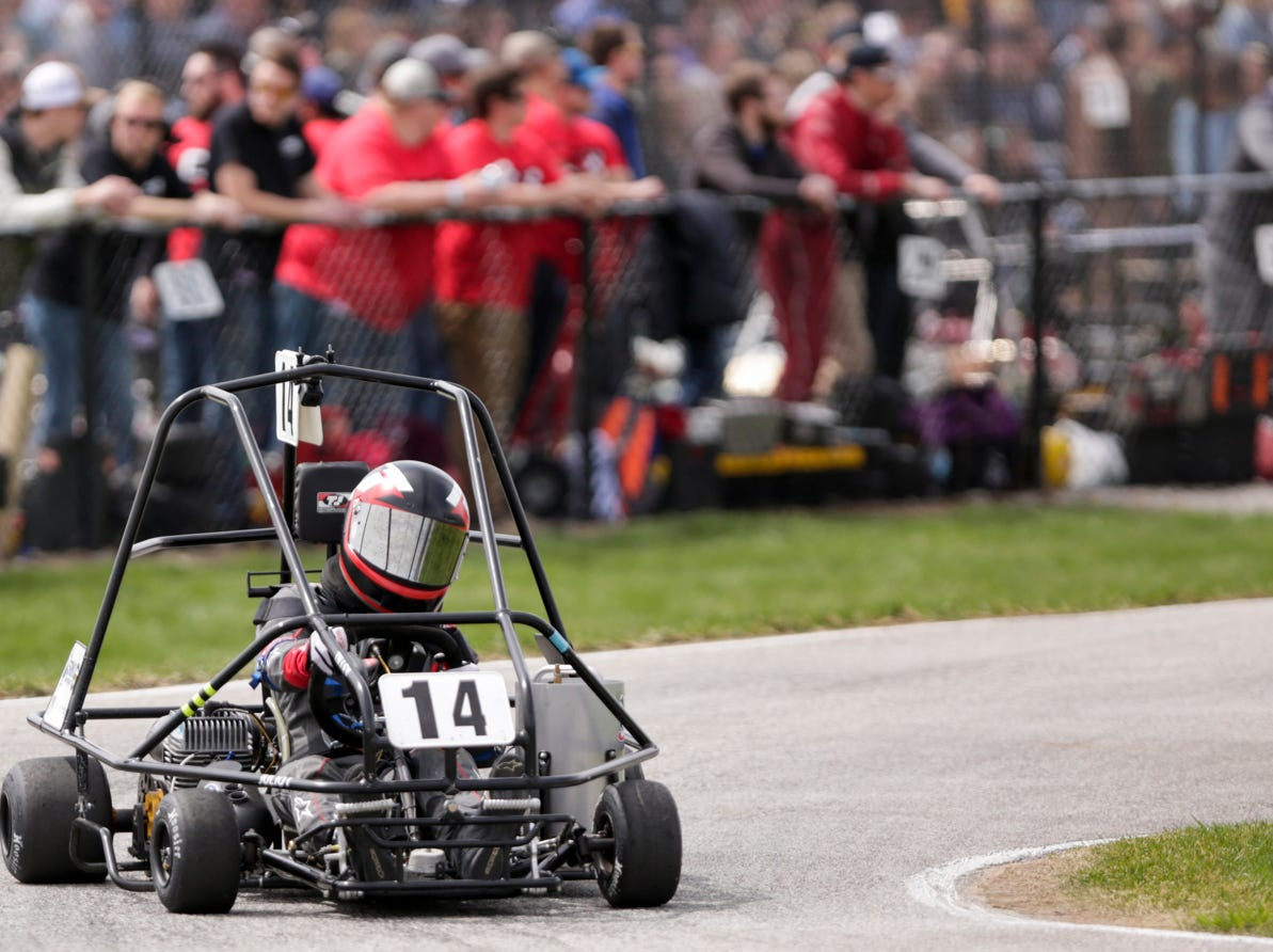 Alpha Sigma Racing driver Kyle Tilley (14) takes turn one during the 62nd Grand Prix, Saturday, April 13, 2019, in West Lafayette.