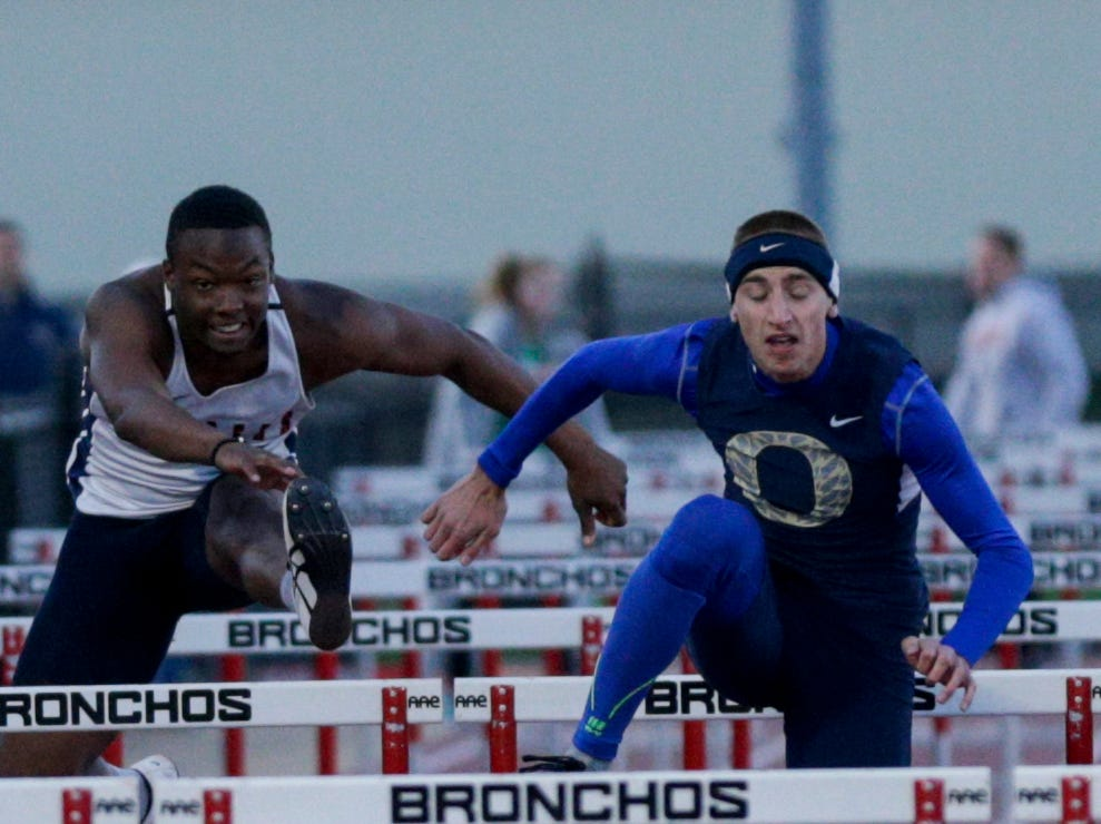 Harrison's Isaac Armstrong competes in the men's 110 meter hurdles during the 2019 Sprinters Showcase, Friday, April 12, 2019, at Lafayette Jeff High School in Lafayette.