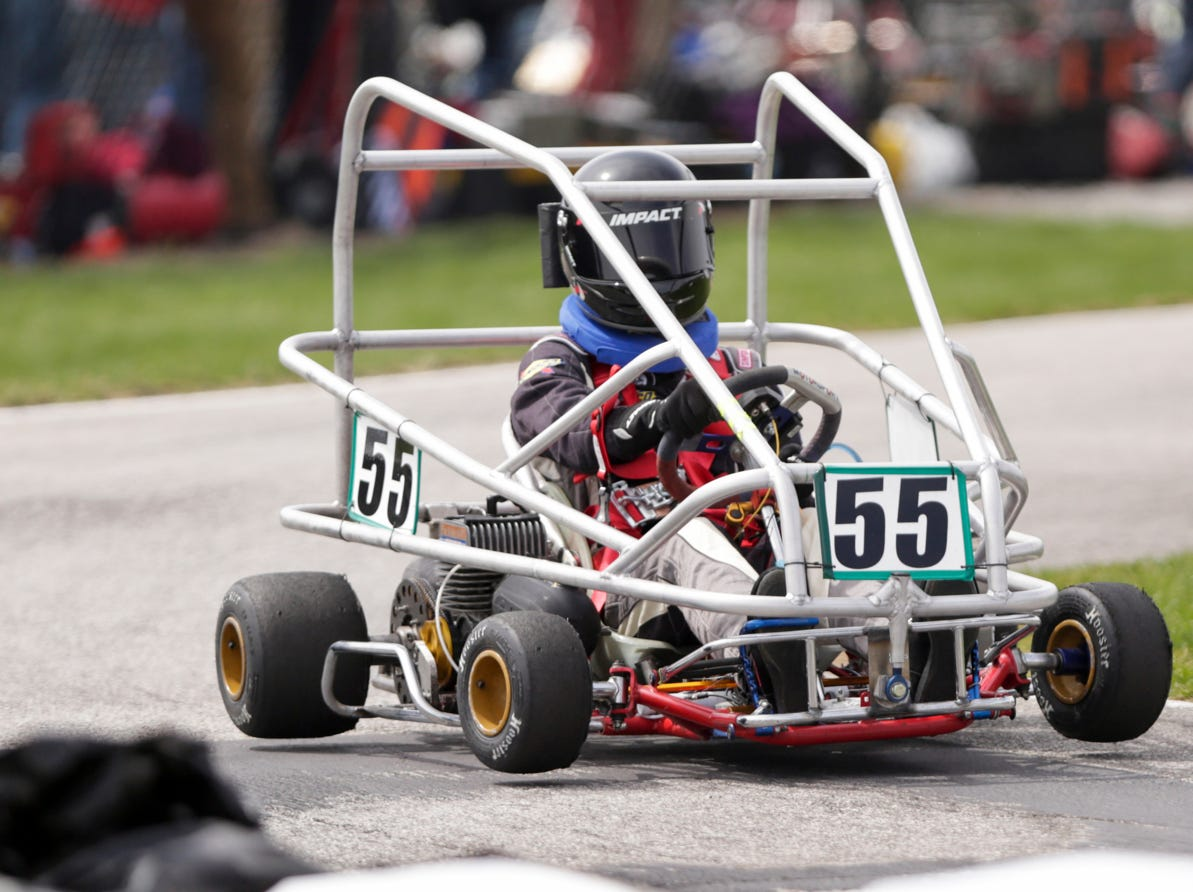 FarmHouse Racing driver Karl Weber (55)'s wheels lift off the ground during the 62nd Grand Prix, Saturday, April 13, 2019, in West Lafayette.
