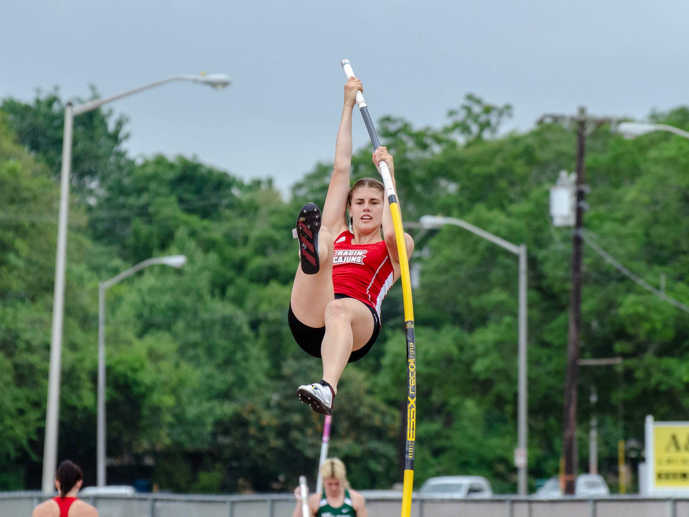 Alexa Johnson competing in pole vault. University of Louisiana at Lafayette host 2019 Cole-Lancon Conference Showdown.