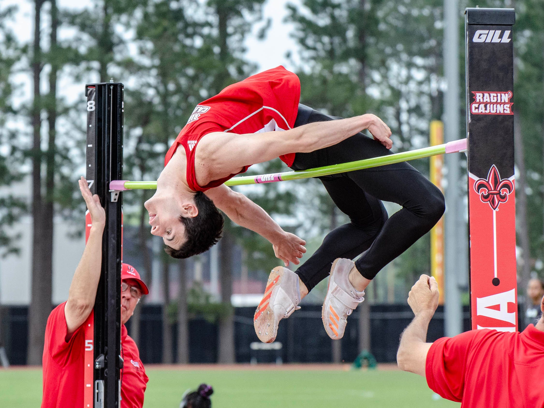 Damon Guidry competing in high jump. University of Louisiana at Lafayette host 2019 Cole-Lancon Conference Showdown.