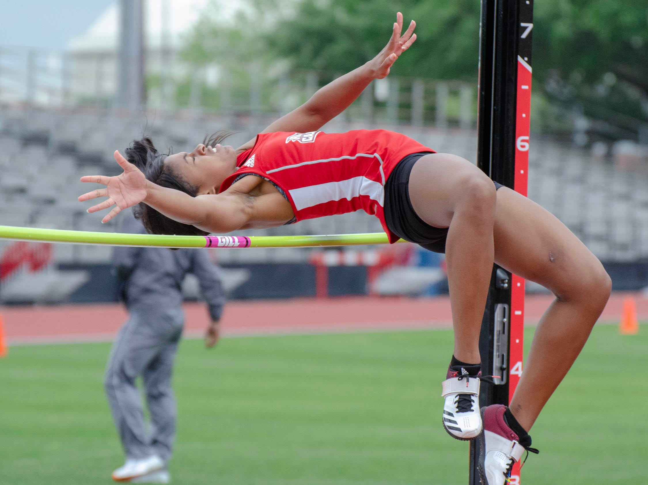 Frankie Griffin competing in high jump. University of Louisiana at Lafayette host 2019 Cole-Lancon Conference Showdown.