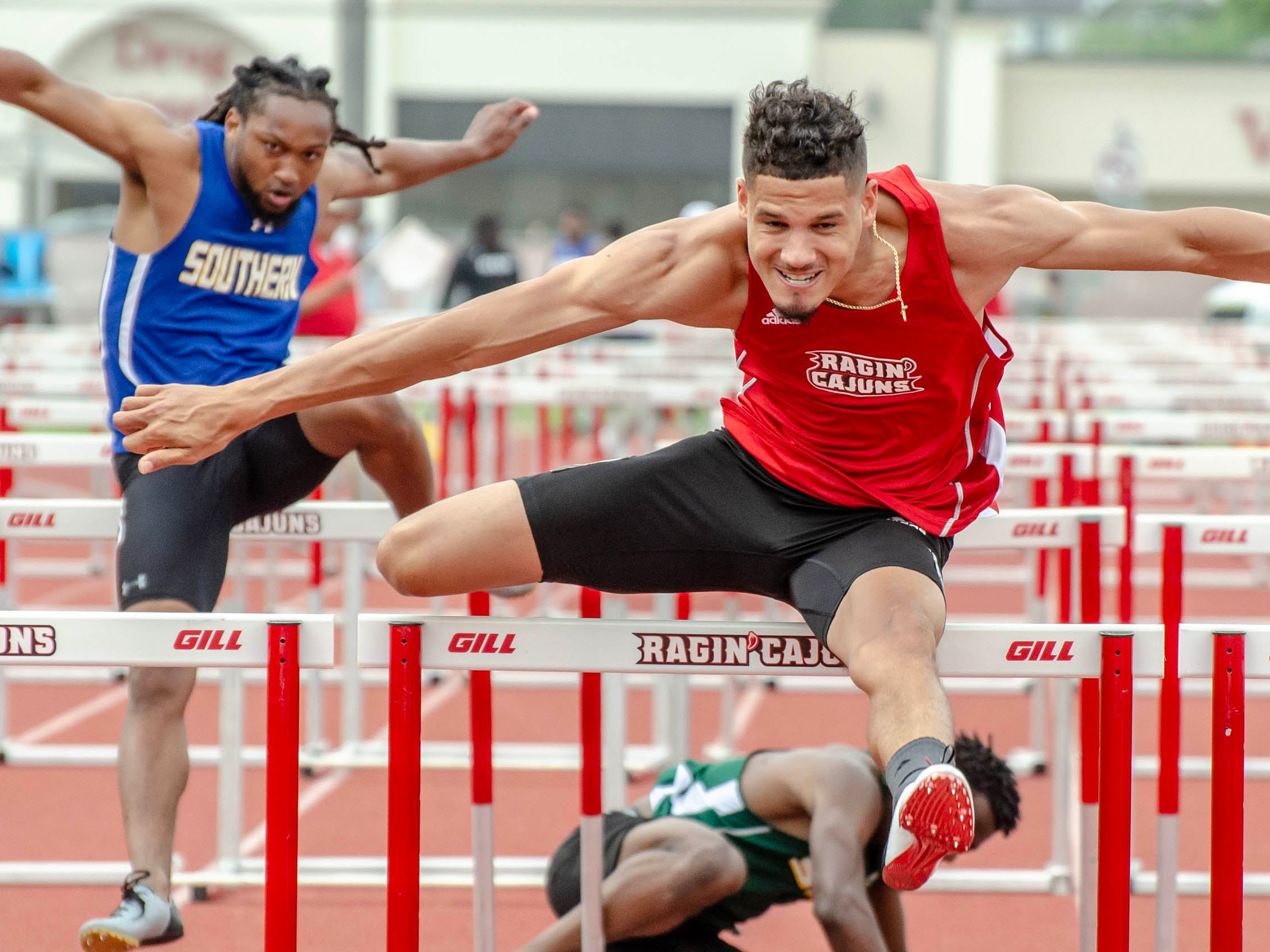 Tyler Hughes competing in 110m hurdles. University of Louisiana at Lafayette host 2019 Cole-Lancon Conference Showdown.
