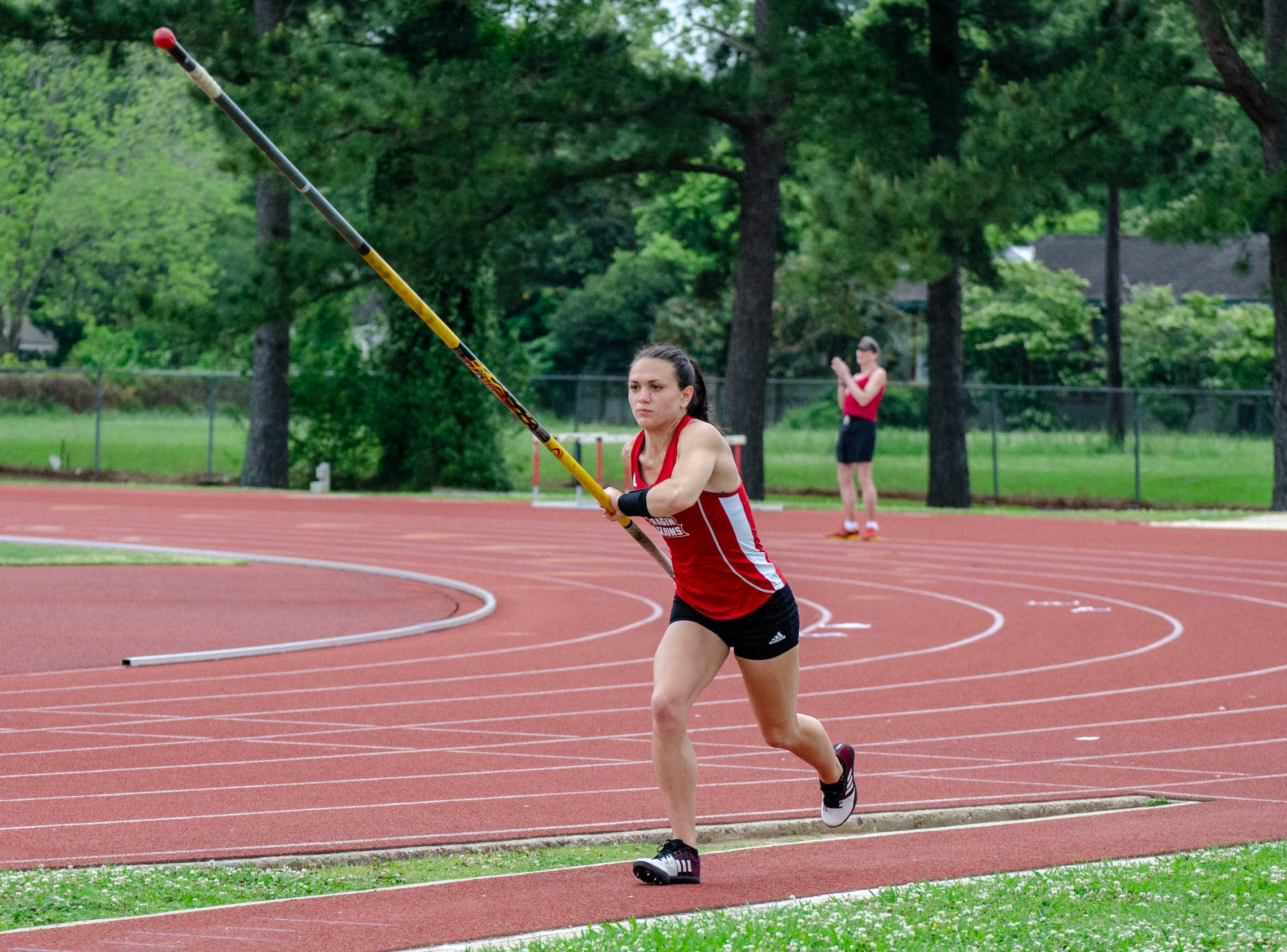 Reagann Leleux competing in pole vault. University of Louisiana at Lafayette host 2019 Cole-Lancon Conference Showdown.