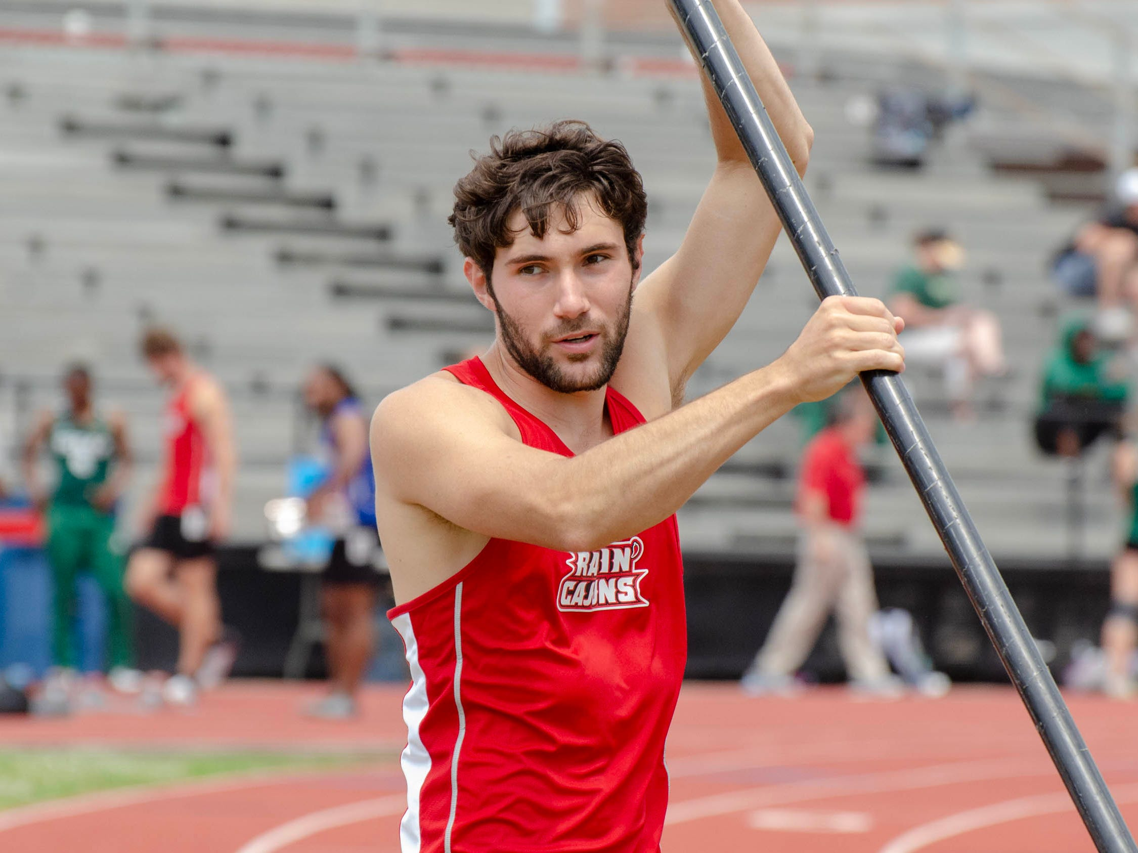 Kyle Baudoin competing in pole vault. University of Louisiana at Lafayette host 2019 Cole-Lancon Conference Showdown.