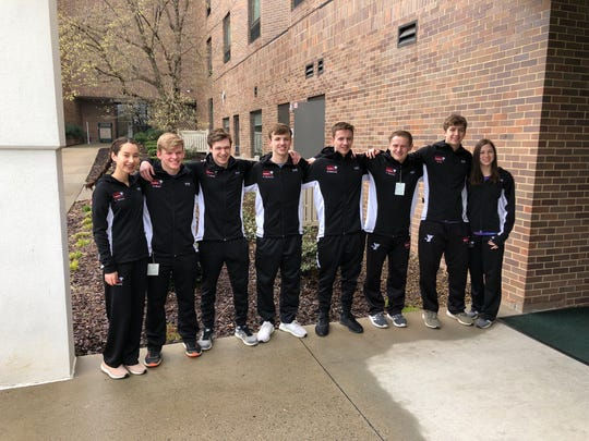 The Lancaster YMCA swim team recently participated in the 2019 YMCA Short Course Winter National swim meet in Greensboro, North Carolina at the Greensboro Aquatic Center. Members of the team from left to right include: Mia Hensley; Geoff Dixon; Connor Green; Nate Eberhardt; Brett Eberhardt; Zach Parkman; Blake Fry; and Kolya Larson.