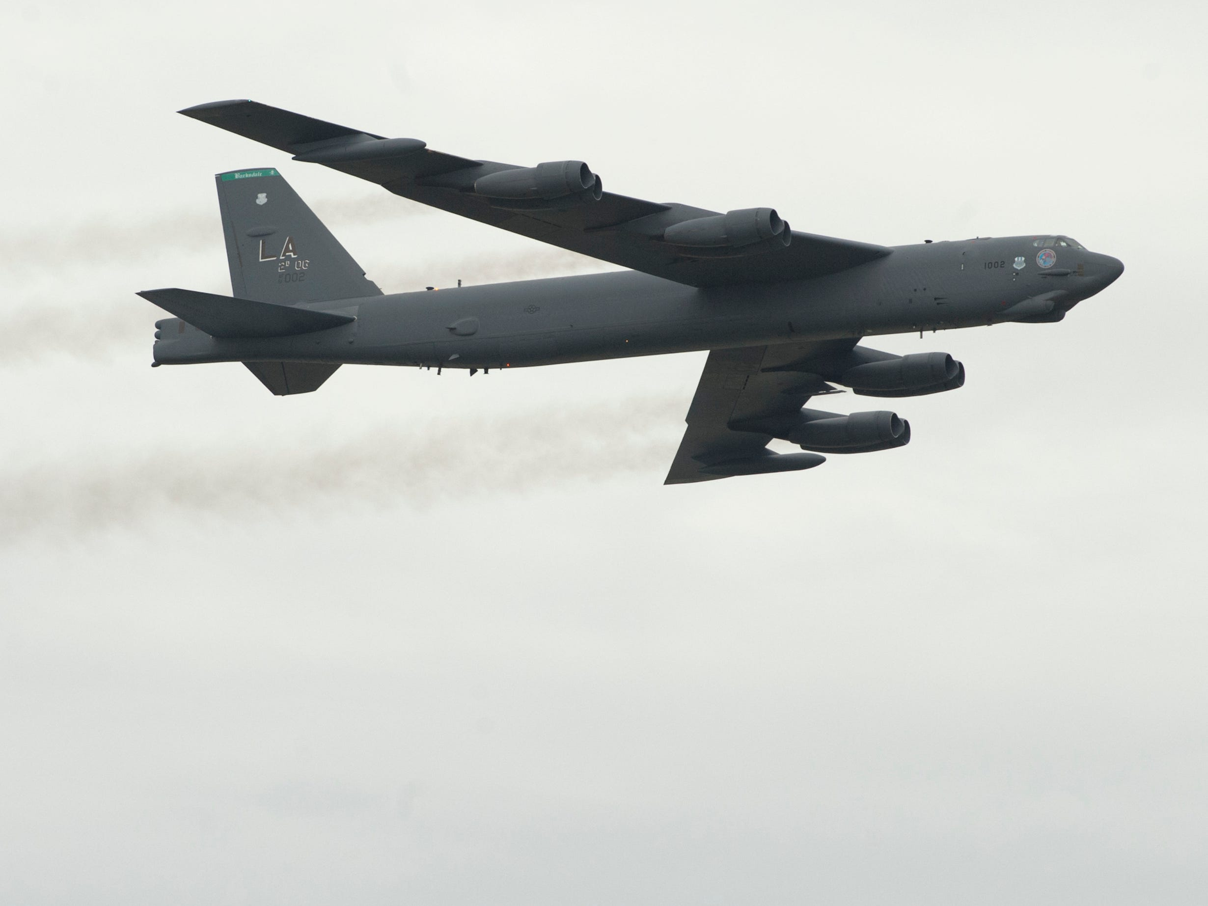 2nd Bomb Wing of the U.S. Air Force flies a B-52 bomber at the 2019 Thunder Over Louisville Air Show.13 April 2019
