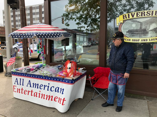 Phil Granger Sr. sells light-up toys in Jeffersonville, Indiana.