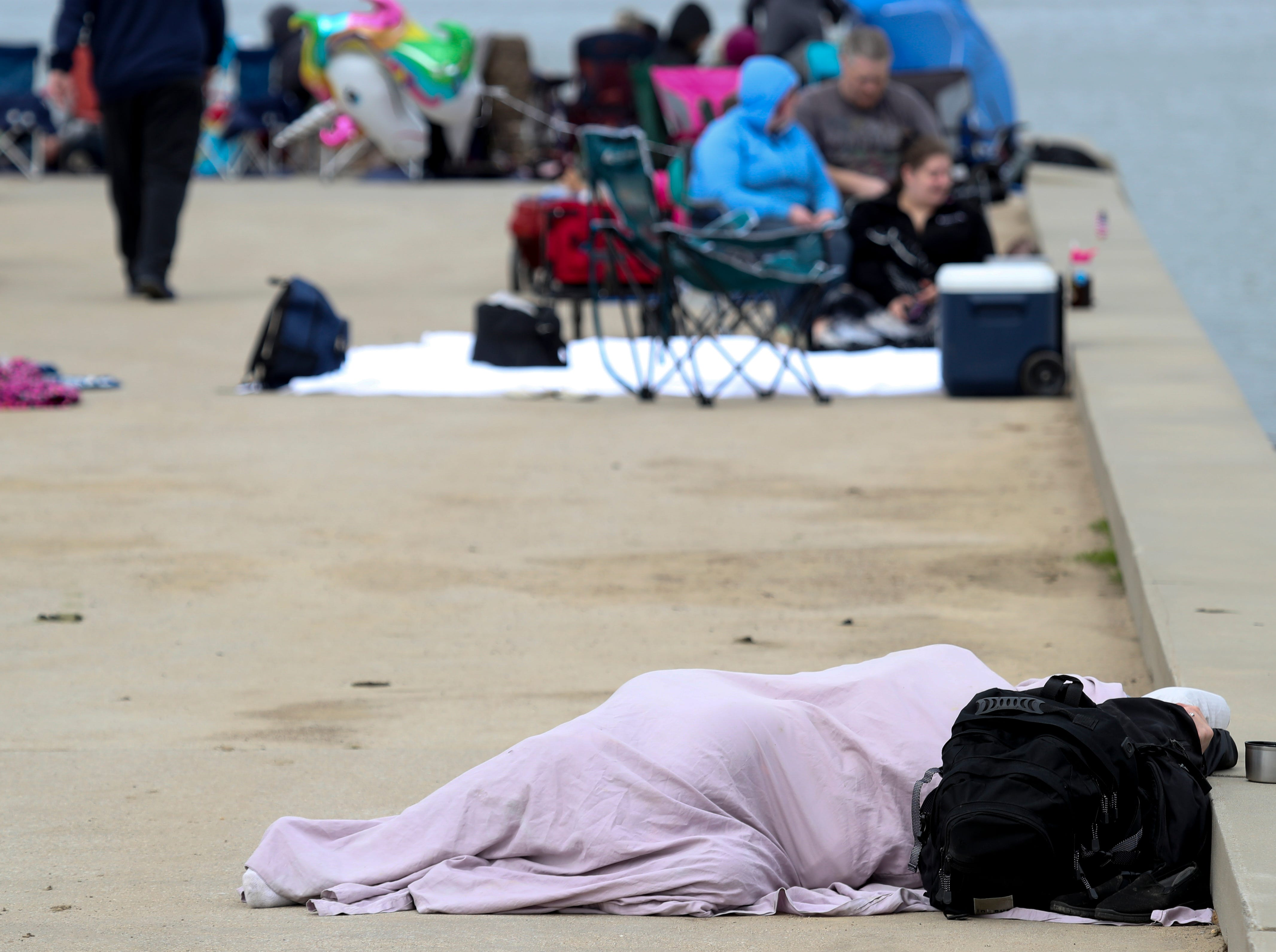 Early arrival at the Great Lawn can sometimes result in an early afternoon nap at Thunder Over Louisville on April 13.