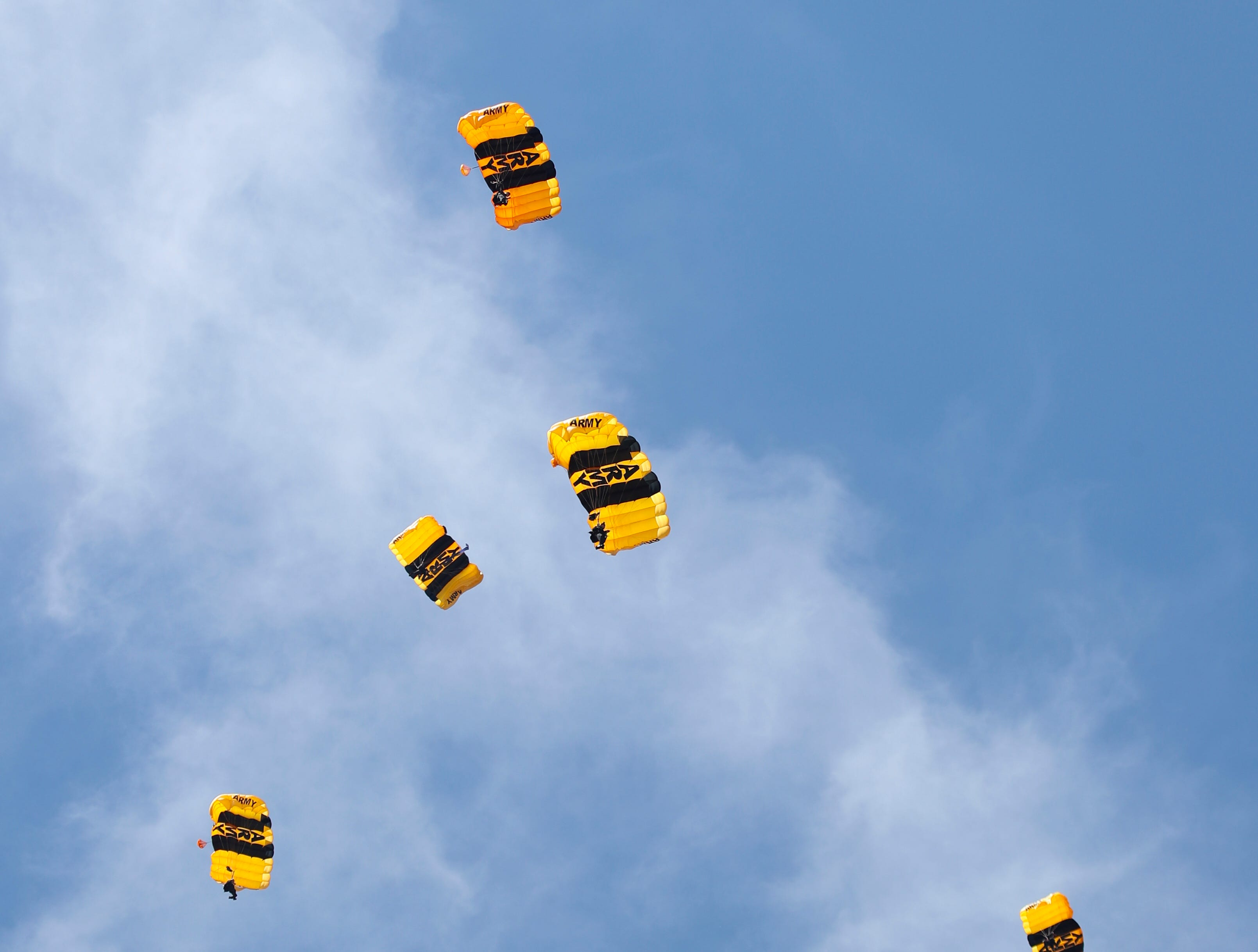 The U.S. Army Golden Knights entertains the crowd at Thunder Over Louisville on April 13.