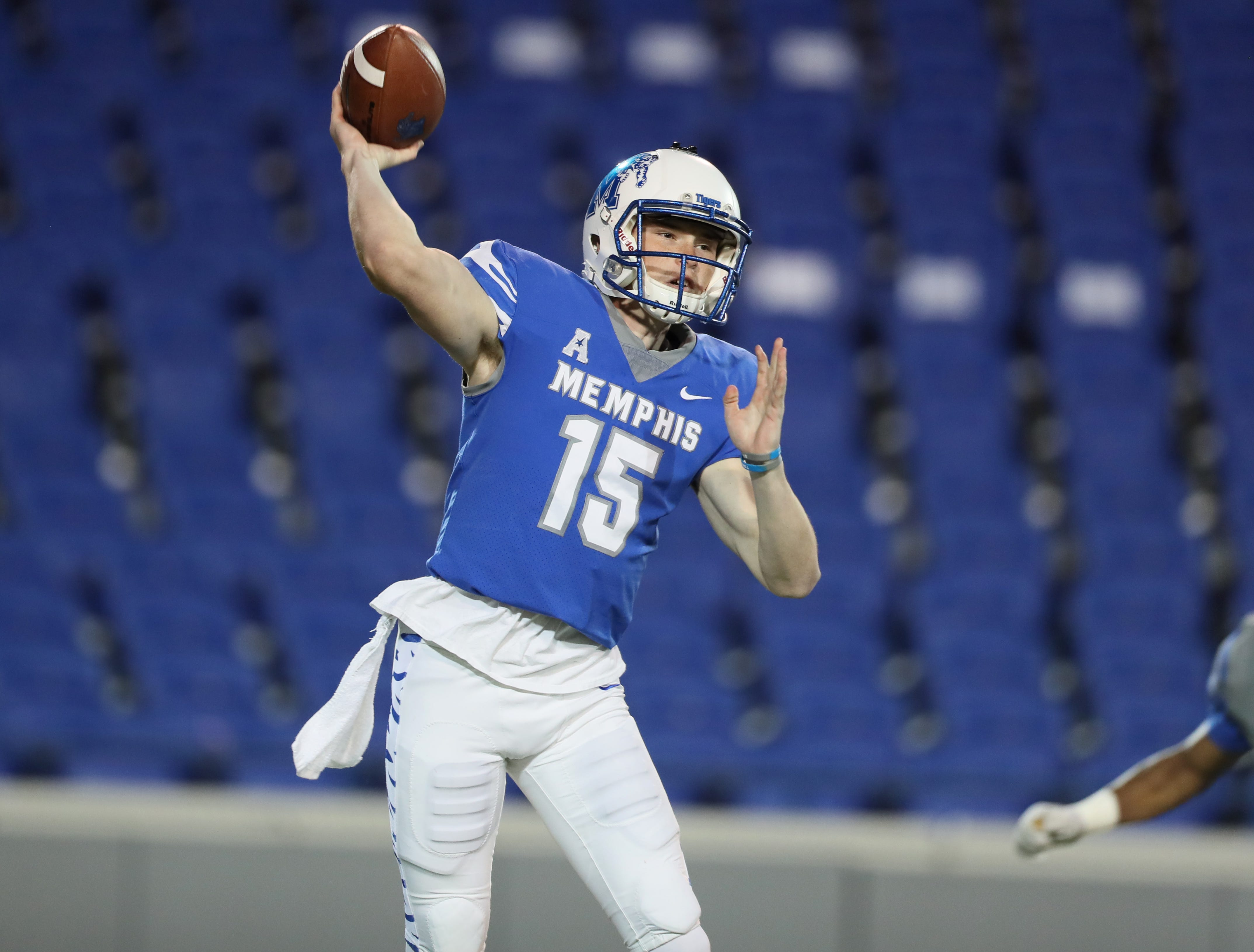 Memphis Tigers quarterback Quindell Johnson throws the ball during their Friday Night Stripes spring game at Liberty Bowl Memorial Stadium on Friday, April 12, 2019.