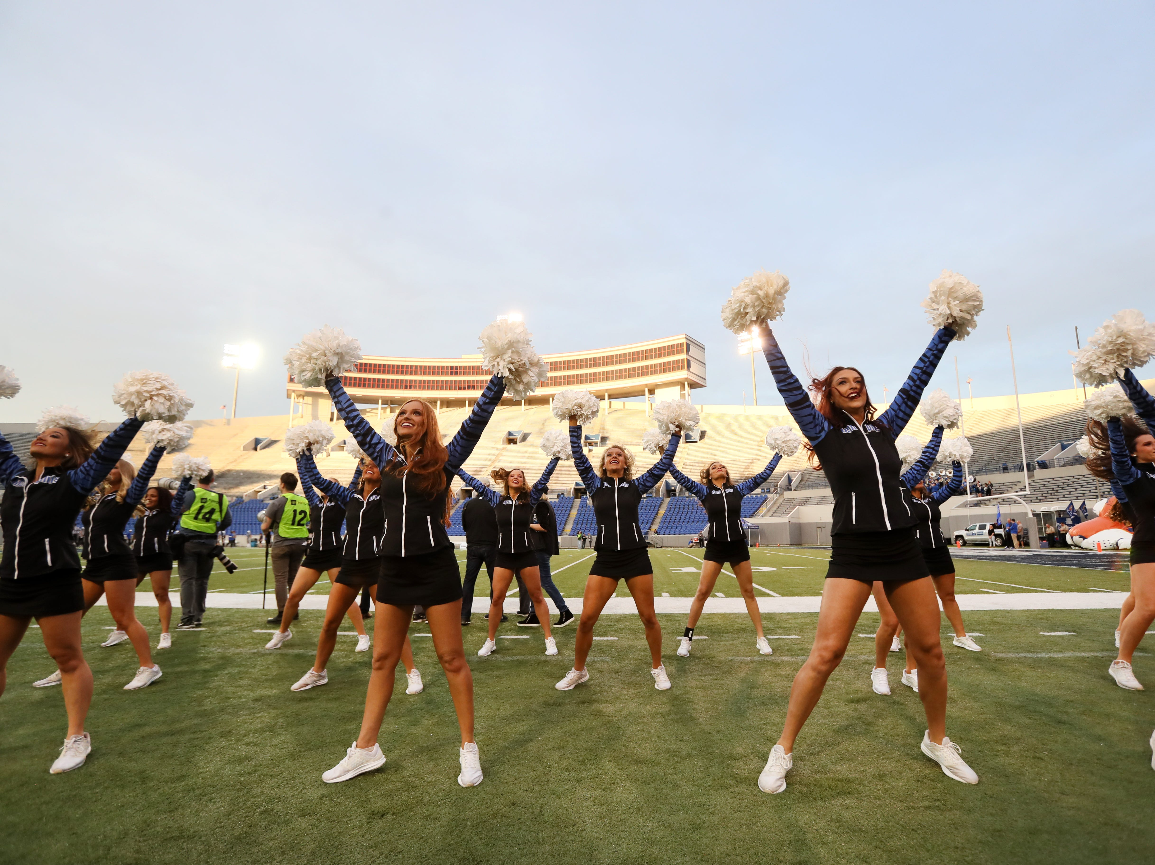 Memphis Tigers cheerleaders perform during their Friday Night Stripes spring game at Liberty Bowl Memorial Stadium on Friday, April 12, 2019.