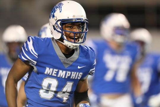 Memphis Tigers wide receiver Calvin Austin III smiles as his side scores a touchdown during their Friday Night Stripes spring game at Liberty Bowl Memorial Stadium on Friday, April 12, 2019.