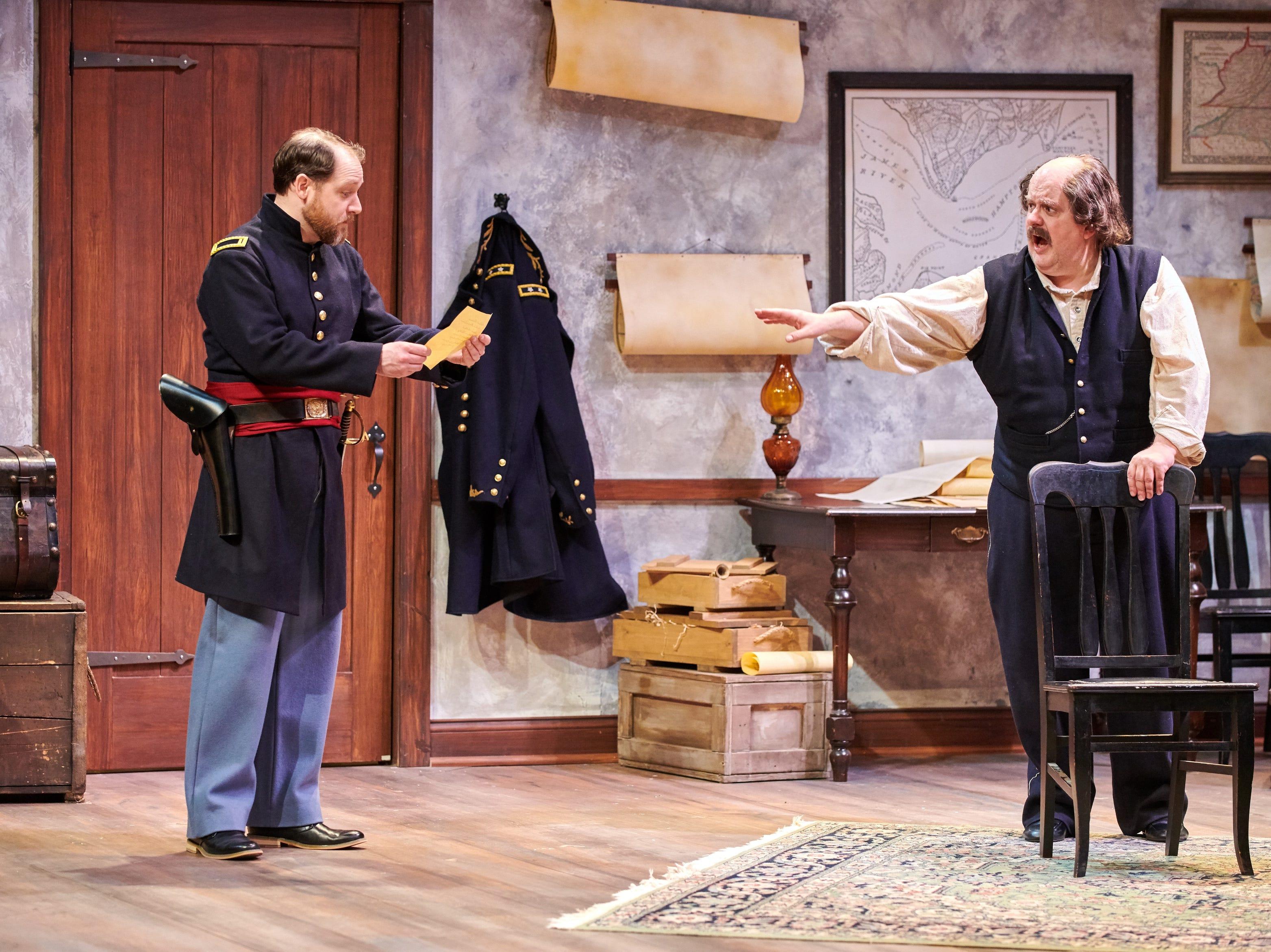 """Chase Stoeger (left) listens to Drew Brhel in Milwaukee Chamber Theatre's """"Ben Butler."""""""