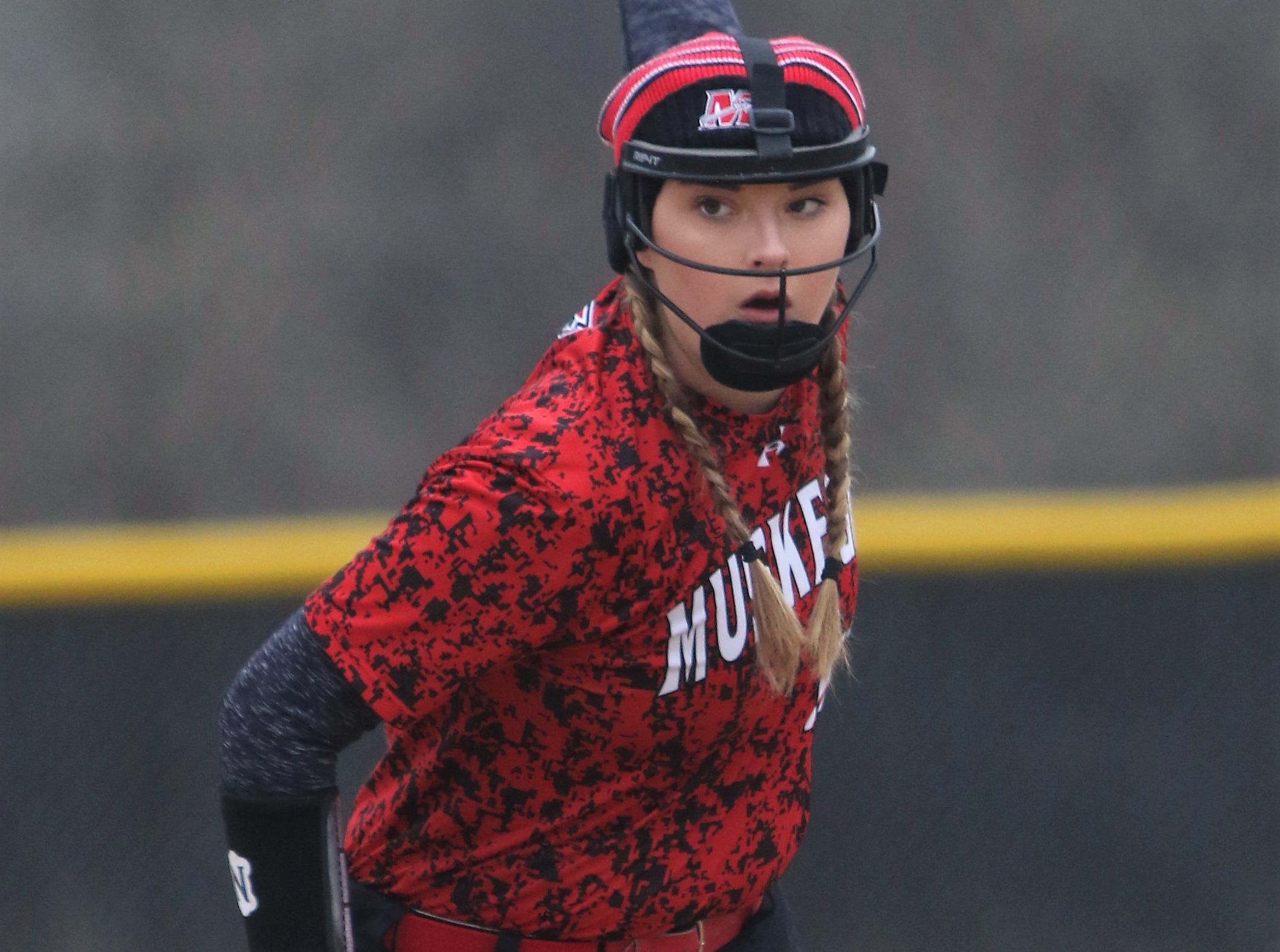 Muskego pitcher Jordan Caby winds up against Waukesha North during a game on April 12, 2019.