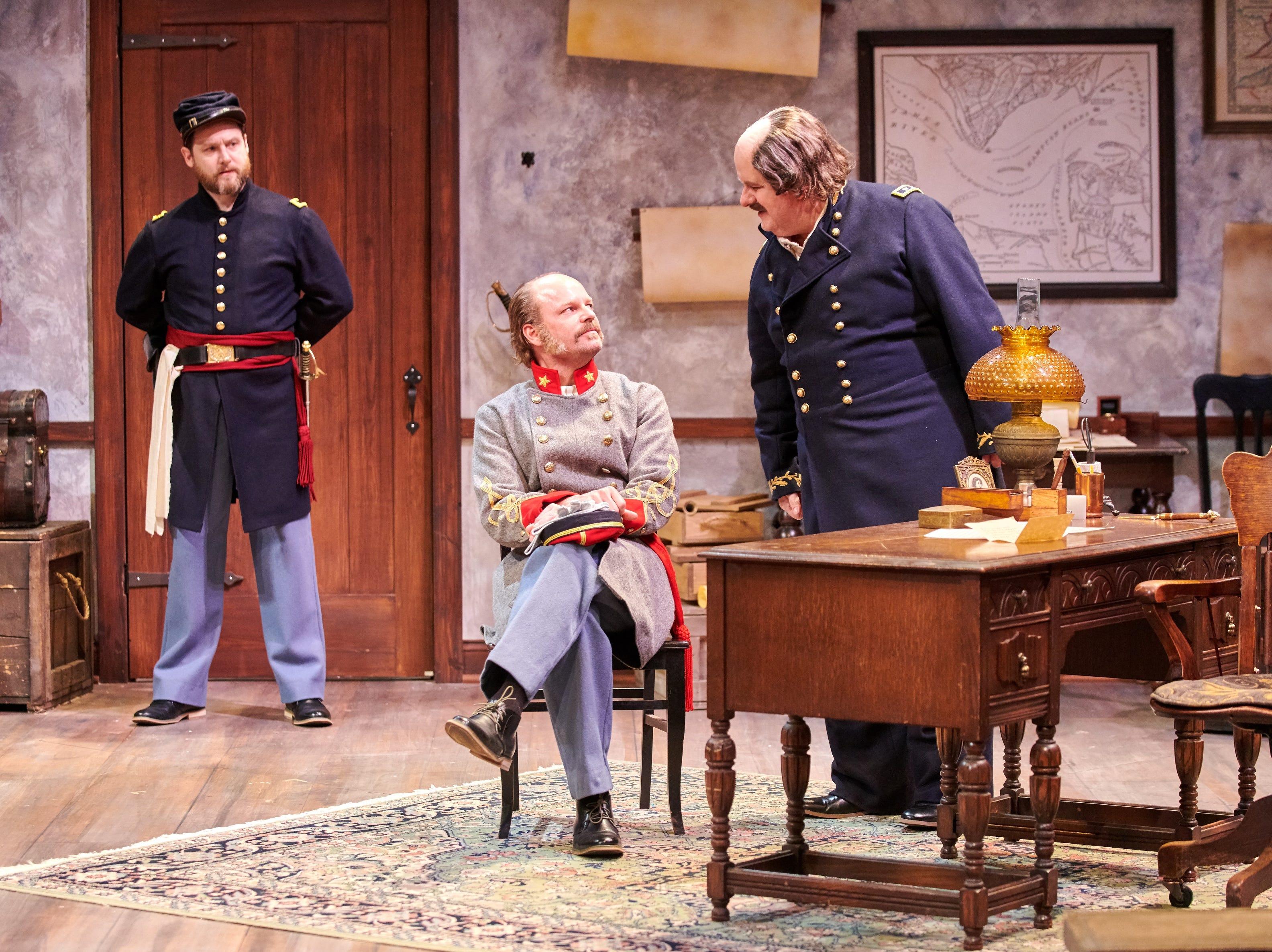 "Chase Stoeger (left) observes as David Sapiro and Drew Brhel talk in Milwaukee Chamber Theatre's ""Ben Butler."""
