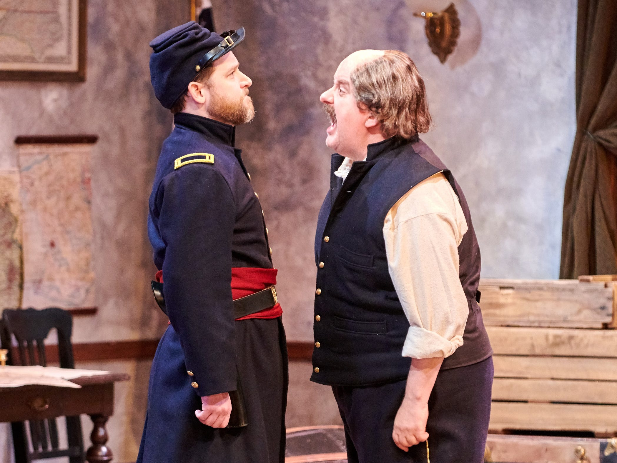 "Chase Stoeger (left), hears from Drew Brhel in Milwaukee Chamber Theatre's ""Ben Butler."""