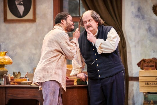 """Marques Causey and Drew Brhel match wits in Milwaukee Chamber Theatre's """"Ben Butler."""""""