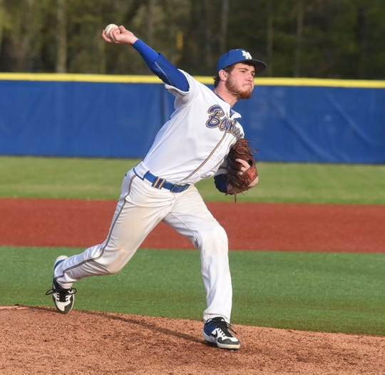 Mountain Home pitcher Luke Jackson delivers to the plate Friday against Shiloh Christian.