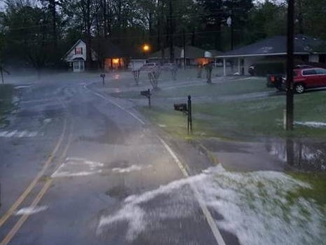 A heavy hailstorm battered Swartz early Saturday morning.
