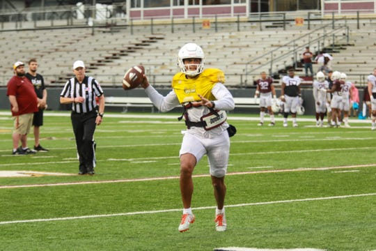 The University of Louisiana Monroe holds its annual Maroon and Gold Spring Game on the turf at JPS Field at Malone Stadium on Saturday, April 12, 2019.