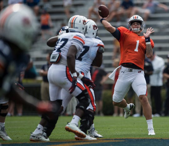 Auburn quarterback Joey Gatewood (1) throws the ball during the A-Day spring practice gameat Jordan-Hare Stadium in Auburn, Ala., on Saturday, April 13, 2019.