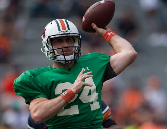 Auburn quarterback Cord Sandberg (24) throws the ball during the A-Day spring practice gameat Jordan-Hare Stadium in Auburn, Ala., on Saturday, April 13, 2019.