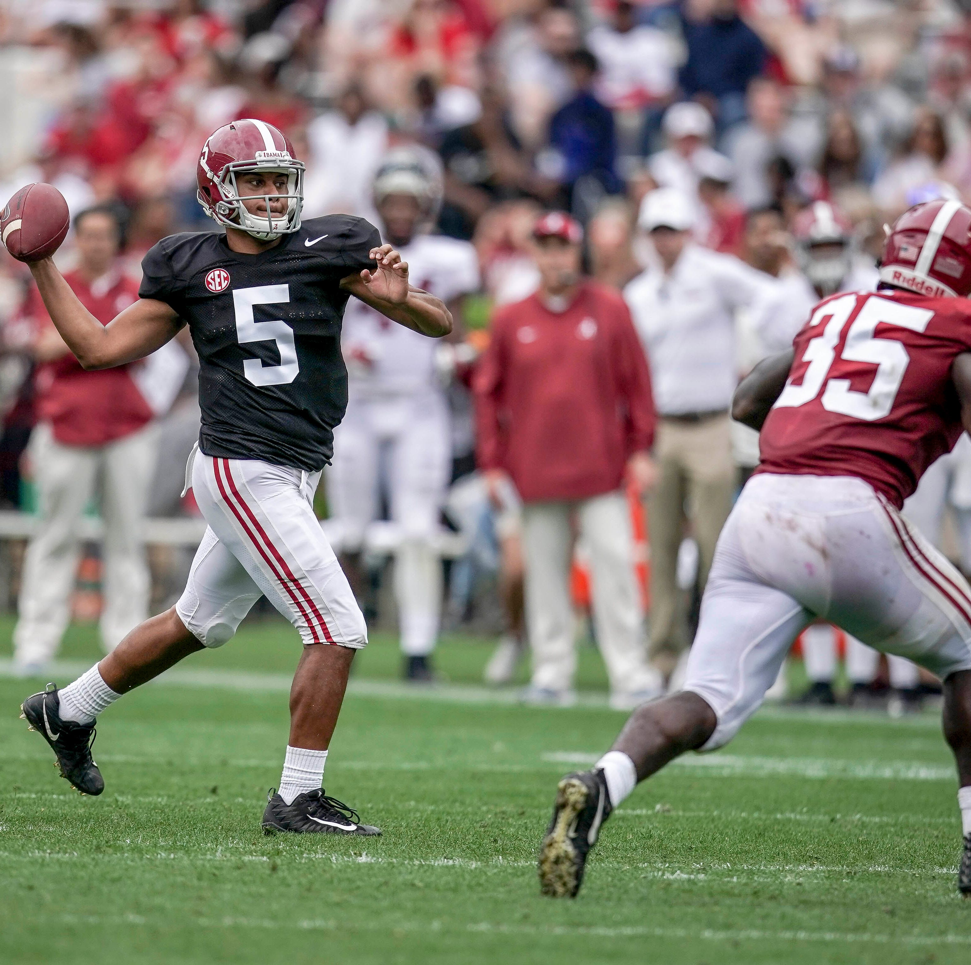 A-Day performances from Jones, younger Tagovailoa open up backup QB conversation