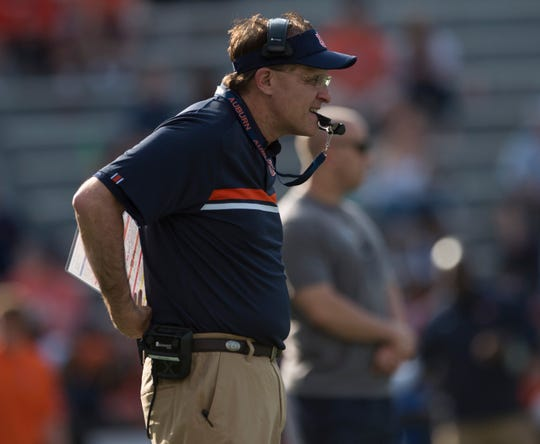 Auburn head coach Gus Malzahn watches during the A-Day spring practice game at Jordan-Hare Stadium in Auburn, Ala., on Saturday, April 13, 2019.