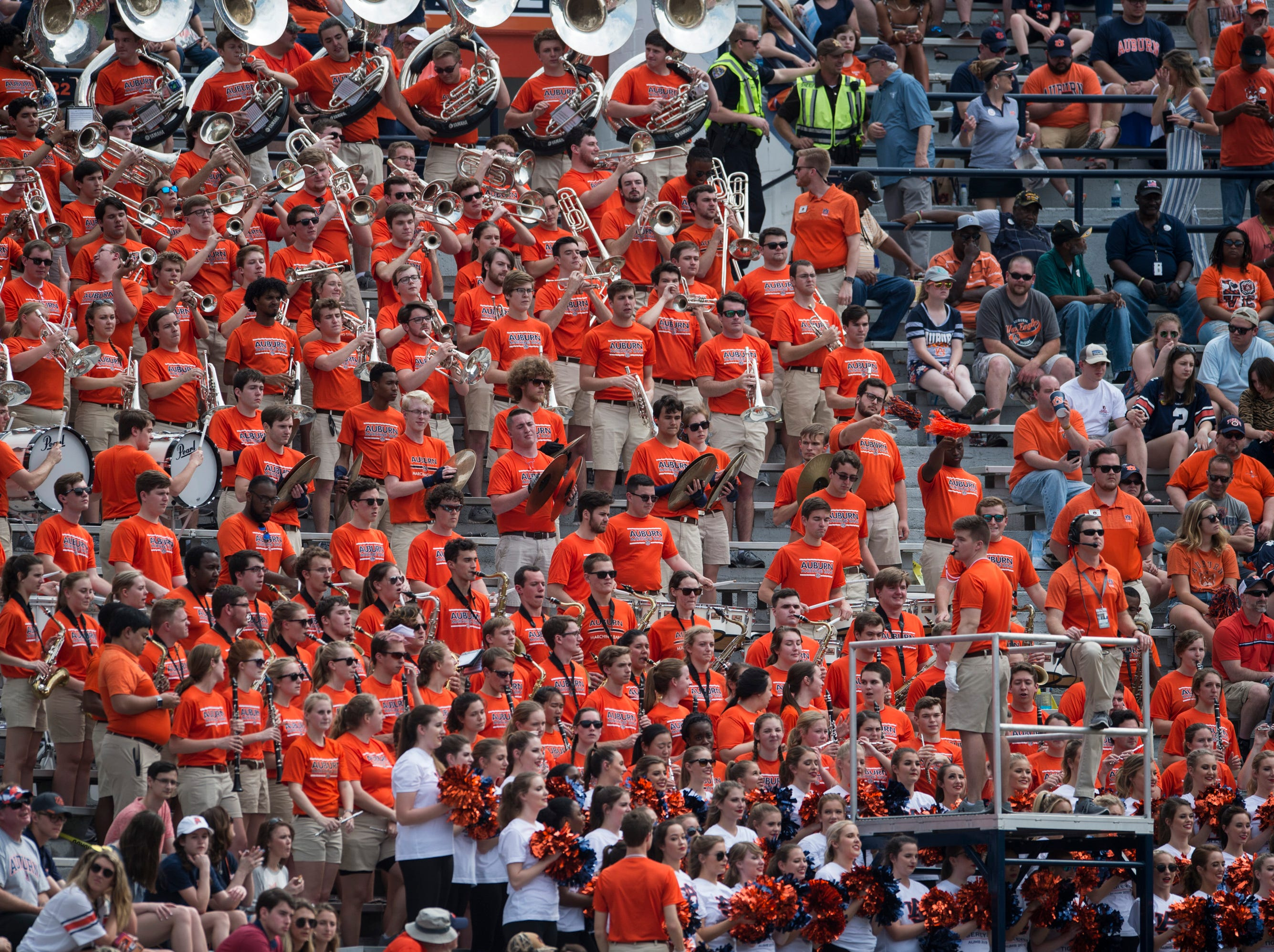 Auburn's band plays during the A-Day spring practice gameat Jordan-Hare Stadium in Auburn, Ala., on Saturday, April 13, 2019.