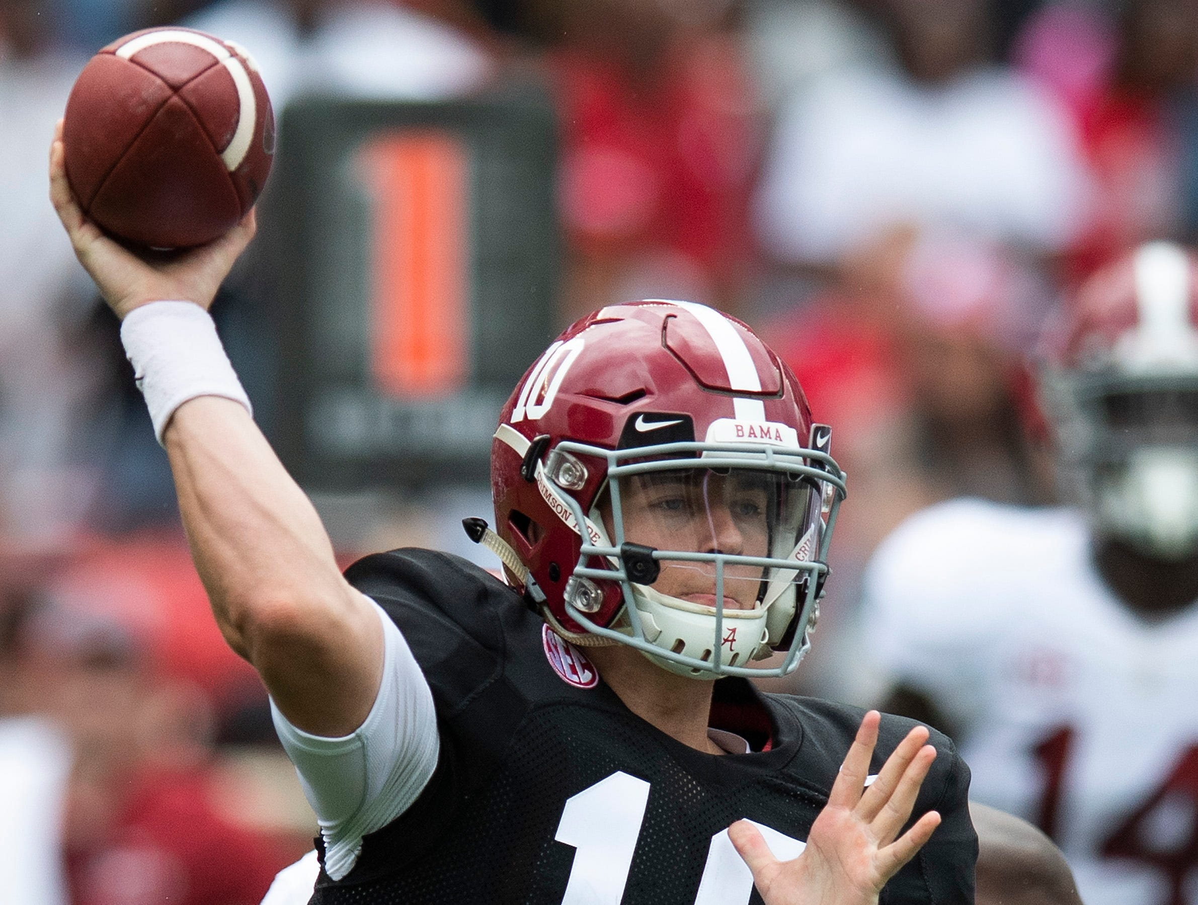 Alabama quarterback Mac Jones (10) passes during first half action in the Alabama A-Day spring football scrimmage game at Bryant Denny Stadium in Tuscaloosa, Ala., on Saturday April 13, 2019.