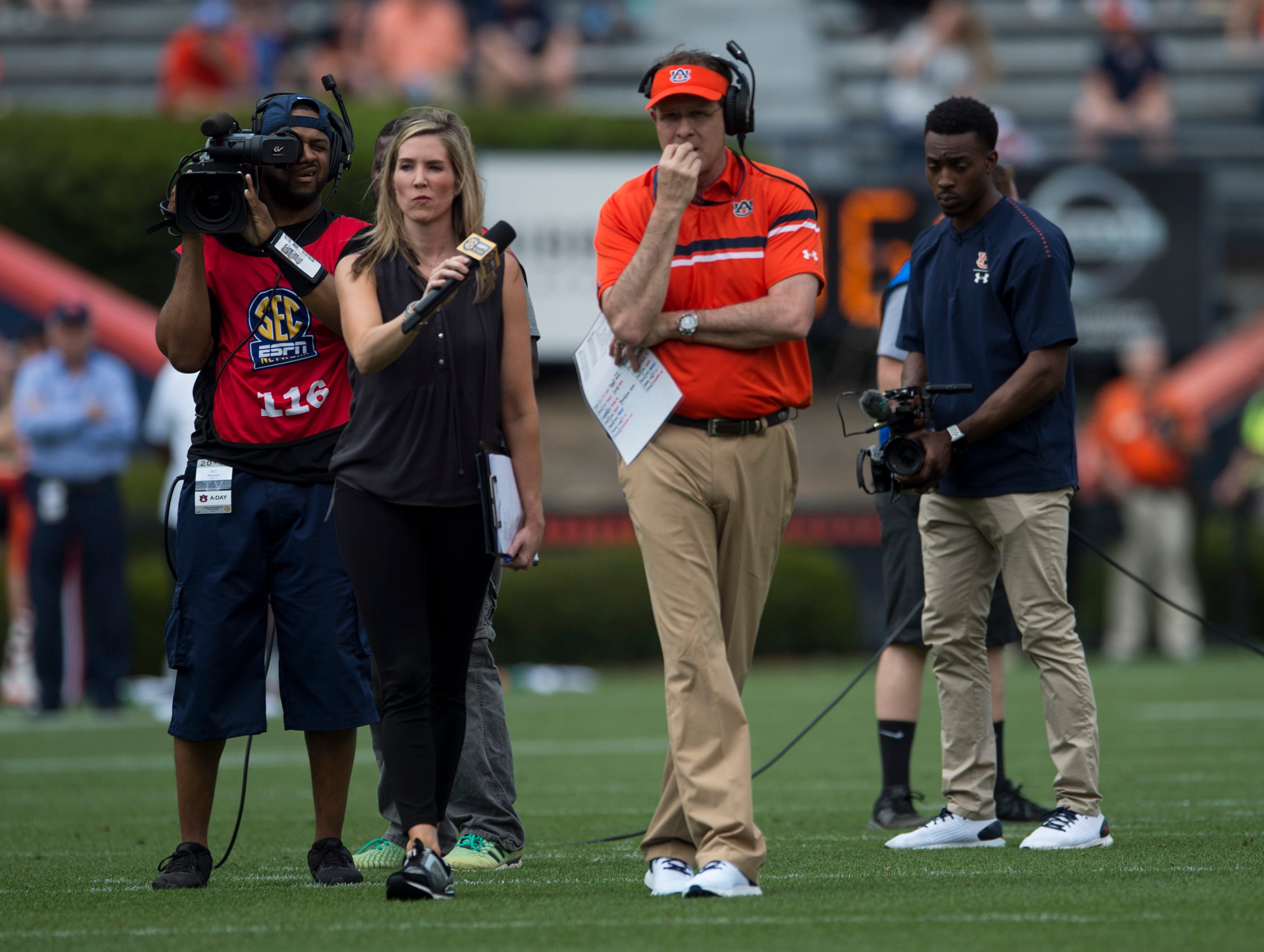 Auburn head coach Gus Malzahn watches on from the field during the A-Day spring practice gameat Jordan-Hare Stadium in Auburn, Ala., on Saturday, April 13, 2019.