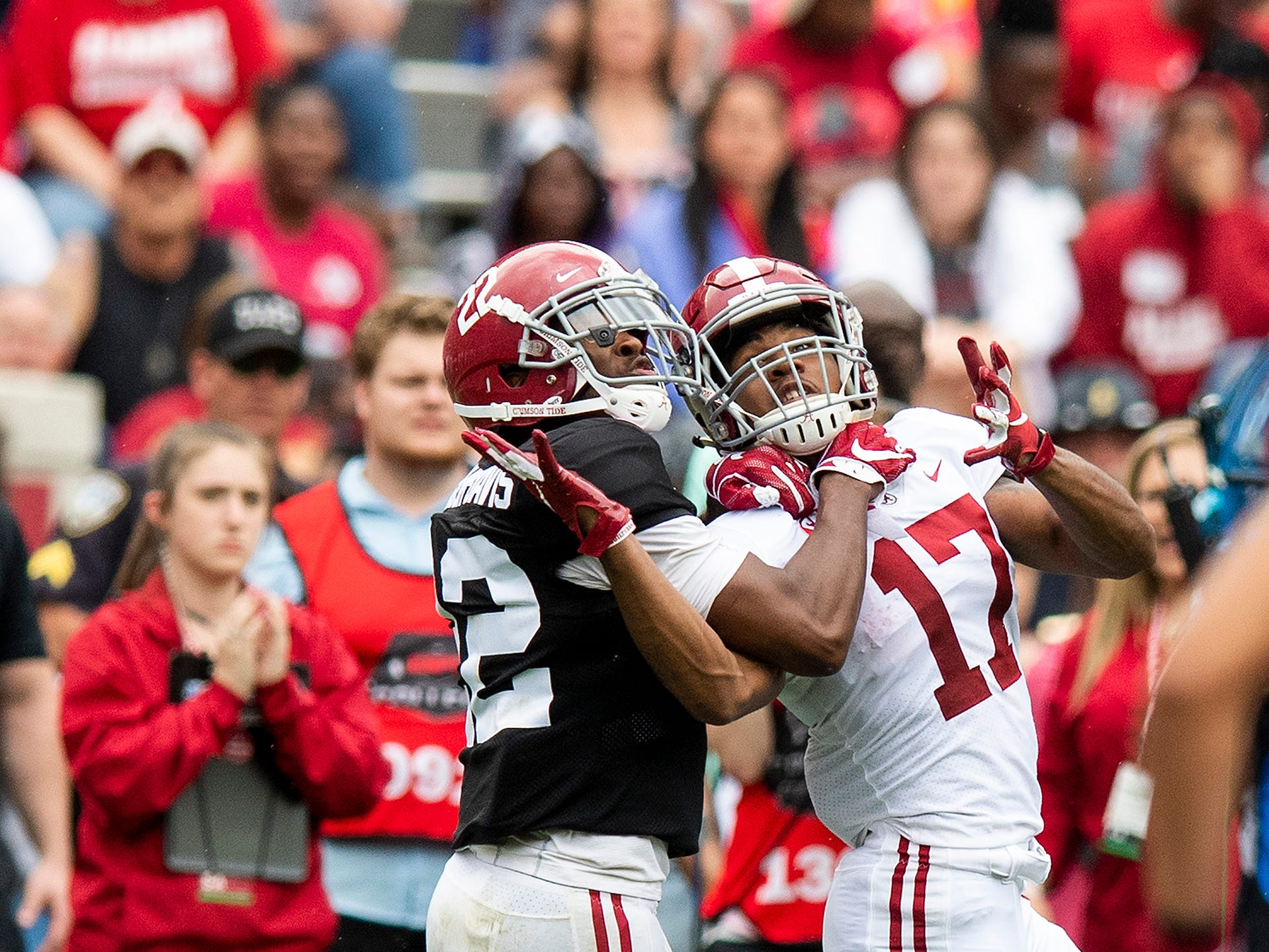 Defensive back Jalyn Armour-Davis (22) is called for interference against wide receiver Jaylen Waddle (17) during first half action in the Alabama A-Day spring football scrimmage game at Bryant Denny Stadium in Tuscaloosa, Ala., on Saturday April 13, 2019.
