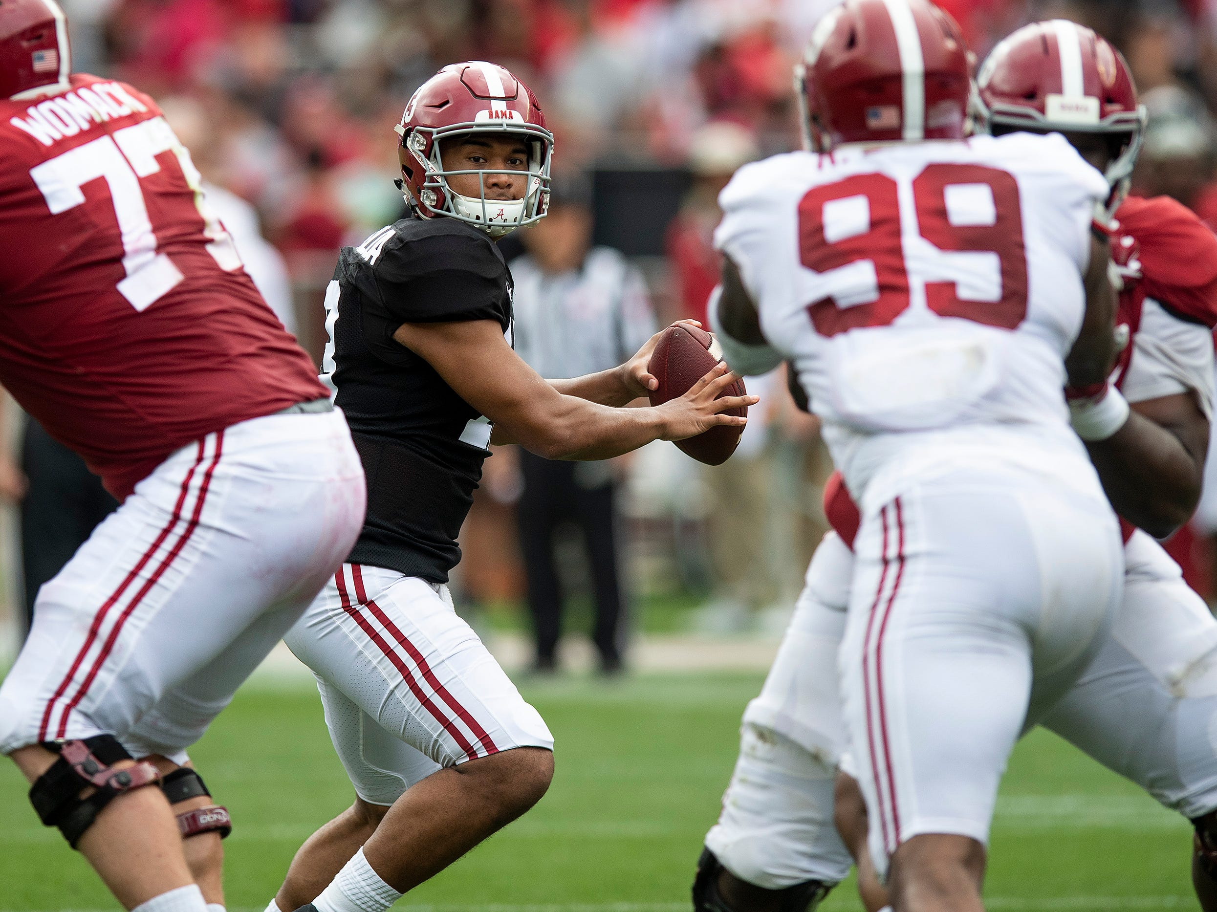 Alabama quarterback Tua Tagovailoa (13) passes during first half action in the Alabama A-Day spring football scrimmage game at Bryant Denny Stadium in Tuscaloosa, Ala., on Saturday April 13, 2019.