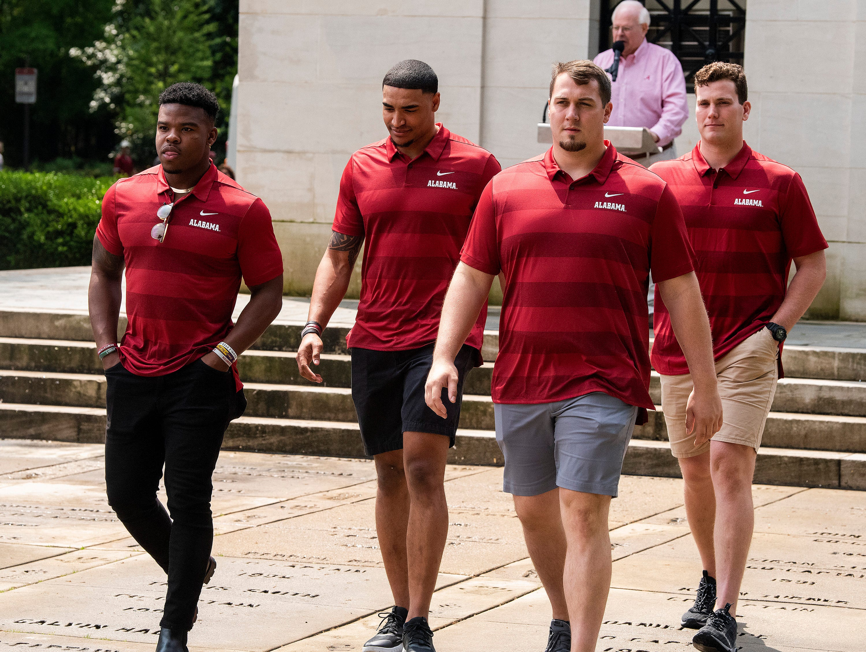 Damien Farris, from left, Christian Miller, Ross Pierschbacher and Mark Hentges during the Alabama football team captain ceremony at Denny Chimes on the Alabama campus in Tuscaloosa, Ala., on Saturday April 13, 2019.