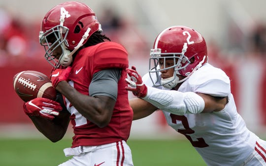 Defensive back Patrick Surtain, II, (2) breaks up a pass intended for wide receiver Jerry Jeudy (4) during first half action in the Alabama A-Day spring football scrimmage game at Bryant Denny Stadium in Tuscaloosa, Ala., on Saturday April 13, 2019.