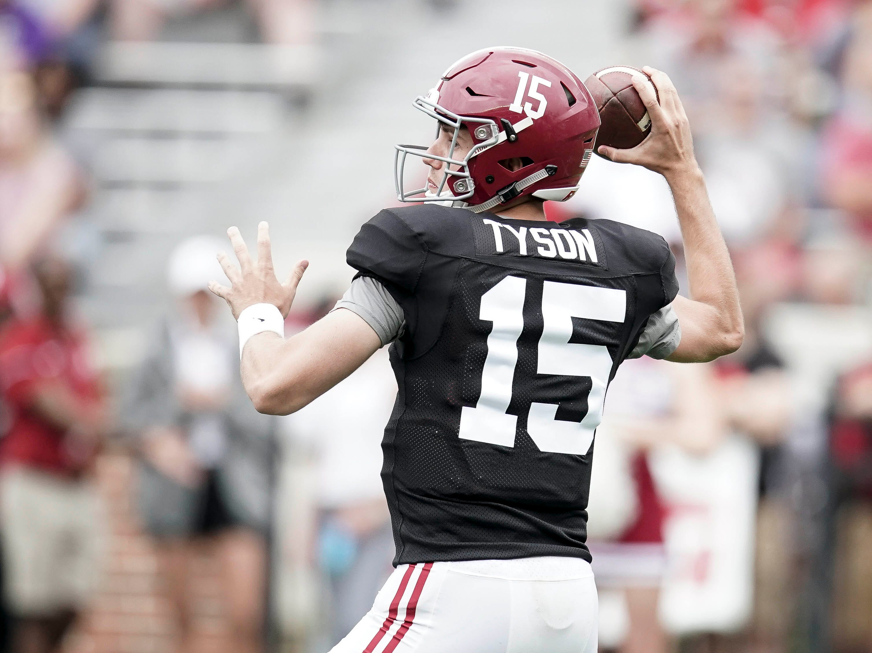 Apr 13, 2019; Tuscaloosa, AL, USA; Alabama Crimson Tide quarterback Paul Tyson (15) looks to pass during the spring game at Bryant-Denny Stadium. Mandatory Credit: Marvin Gentry-USA TODAY Sports