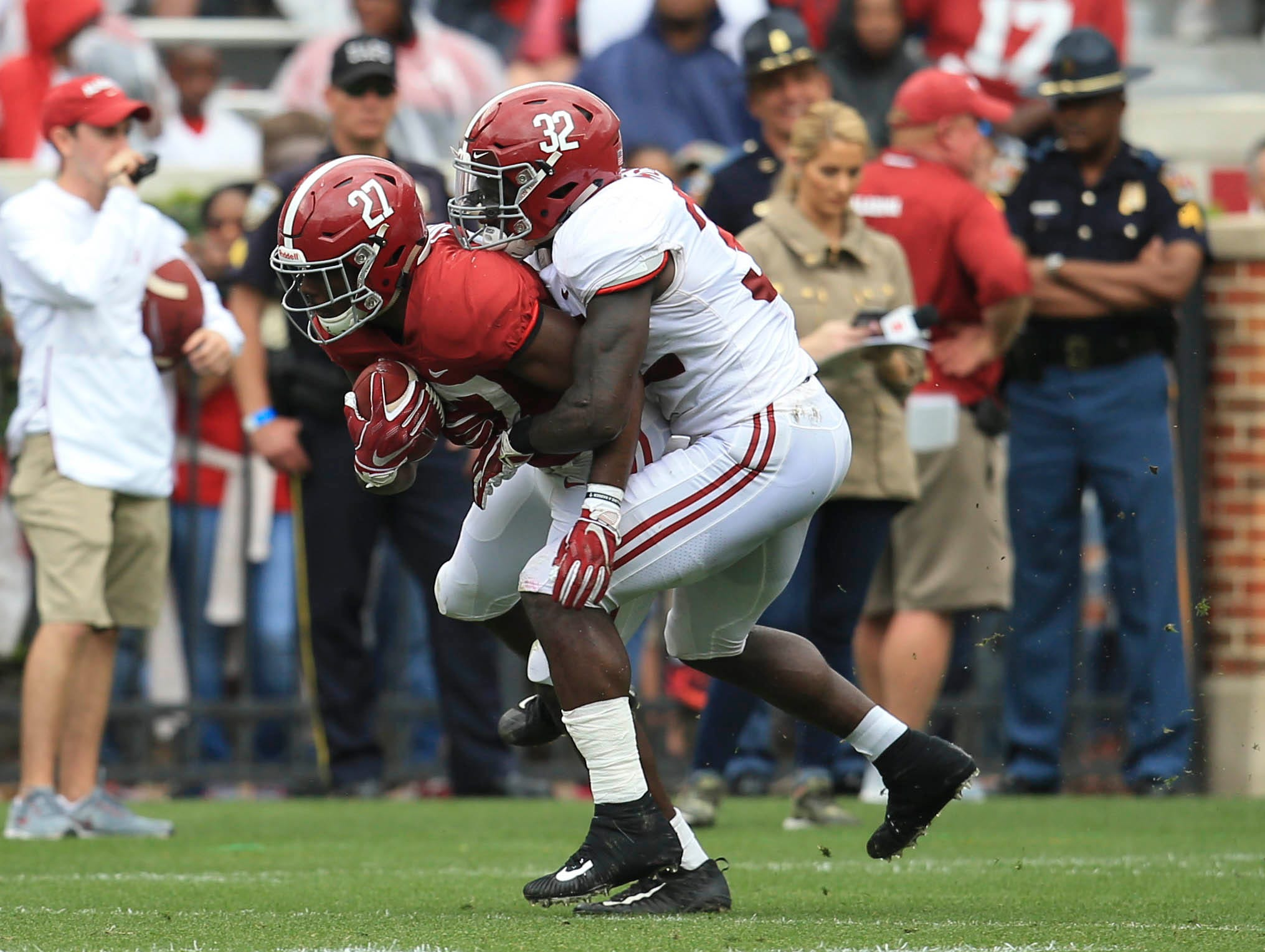 Apr 13, 2019; Tuscaloosa, AL, USA; Alabama Crimson Tide running back Jerome Ford (27) is tackled from behind by Alabama Crimson Tide linebacker Dylan Moses (32) at Bryant-Denny Stadium. Mandatory Credit: Marvin Gentry-USA TODAY Sports