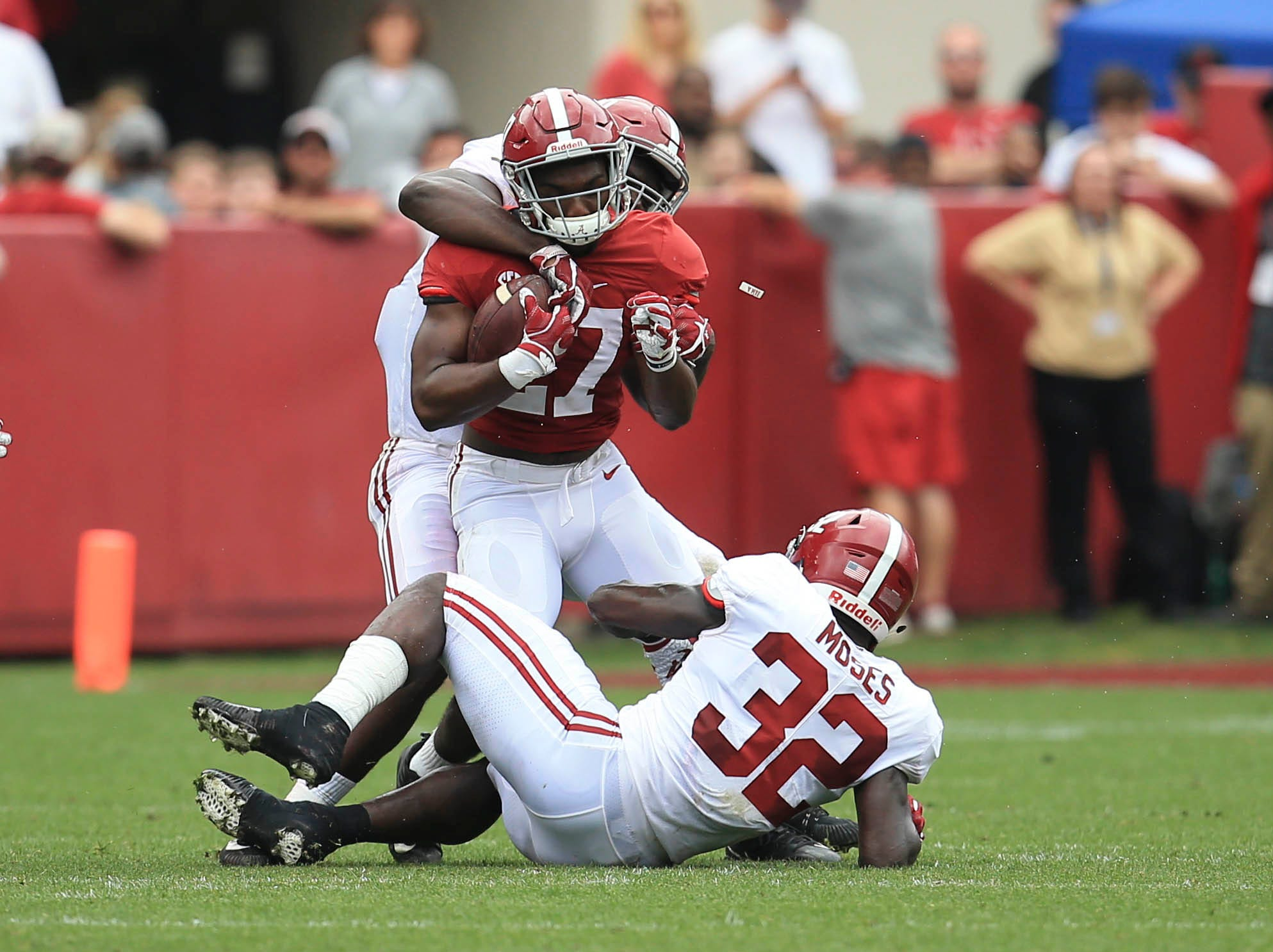 Apr 13, 2019; Tuscaloosa, AL, USA; Alabama Crimson Tide running back Jerome Ford (27) is tackled during the spring game at Bryant-Denny Stadium. Mandatory Credit: Marvin Gentry-USA TODAY Sports