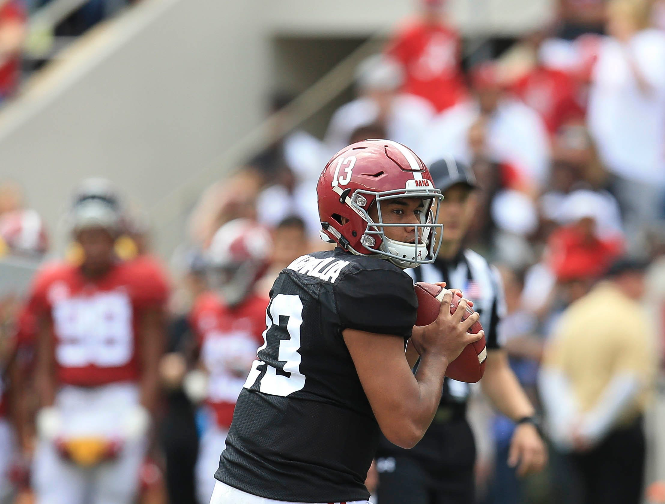 Apr 13, 2019; Tuscaloosa, AL, USA; Alabama Crimson Tide quarterback Tua Tagovailoa (13) during the spring game at Bryant-Denny Stadium. Mandatory Credit: Marvin Gentry-USA TODAY Sports
