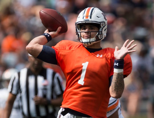 Auburn quarterback Joey Gatewood (1) throws the ball during the A-Day spring practice game at Jordan-Hare Stadium in Auburn, Ala., on Saturday, April 13, 2019.