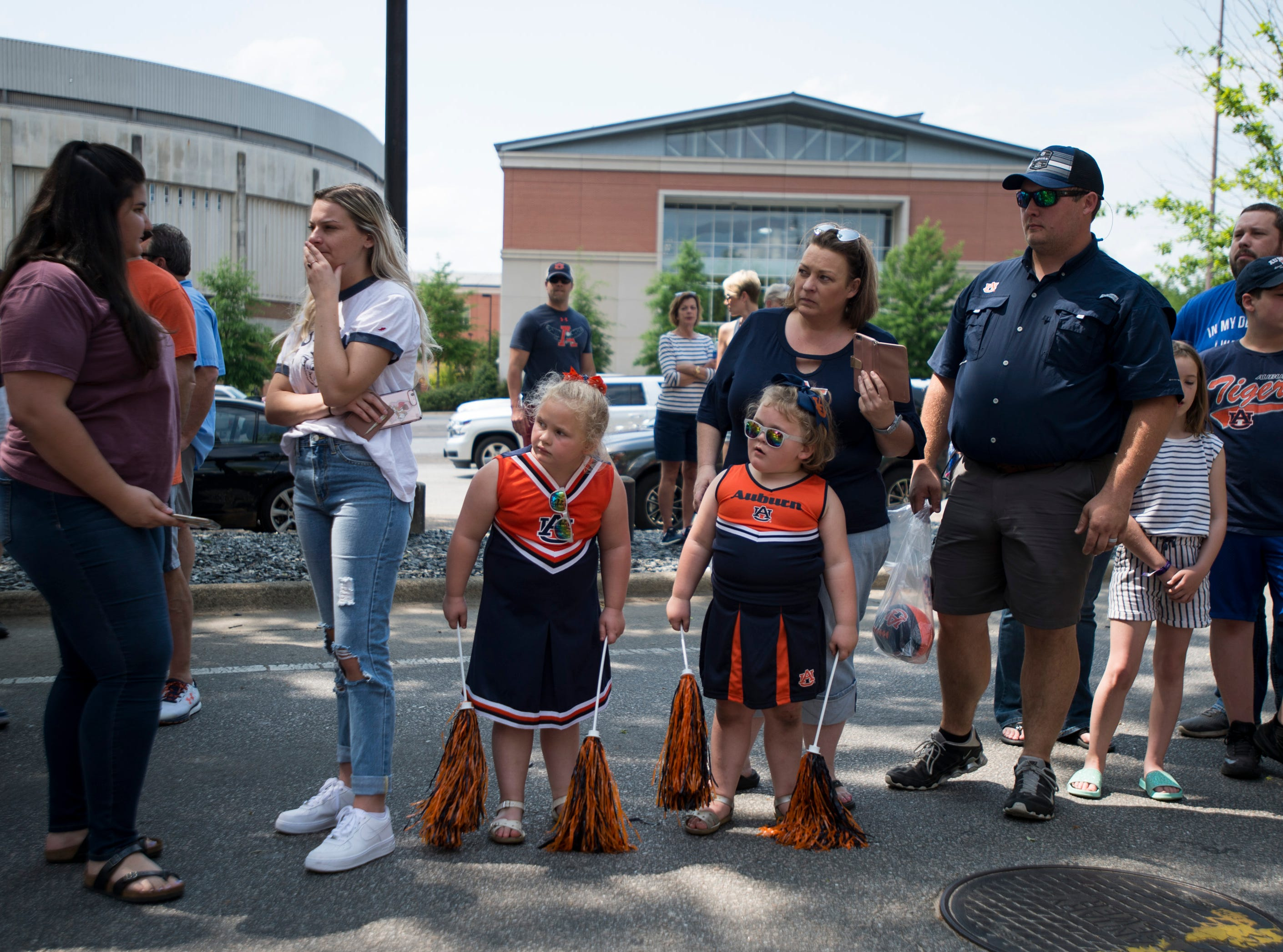 Fans wait for the team during the Tiger Walk before the A-Day spring practice gameat Jordan-Hare Stadium in Auburn, Ala., on Saturday, April 13, 2019.