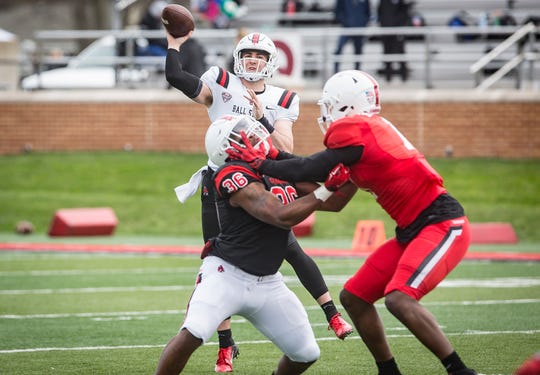 Ball State's Drew Plitt throws during the annual Spring Game at Scheumann Stadium Saturday, April 13, 2019.