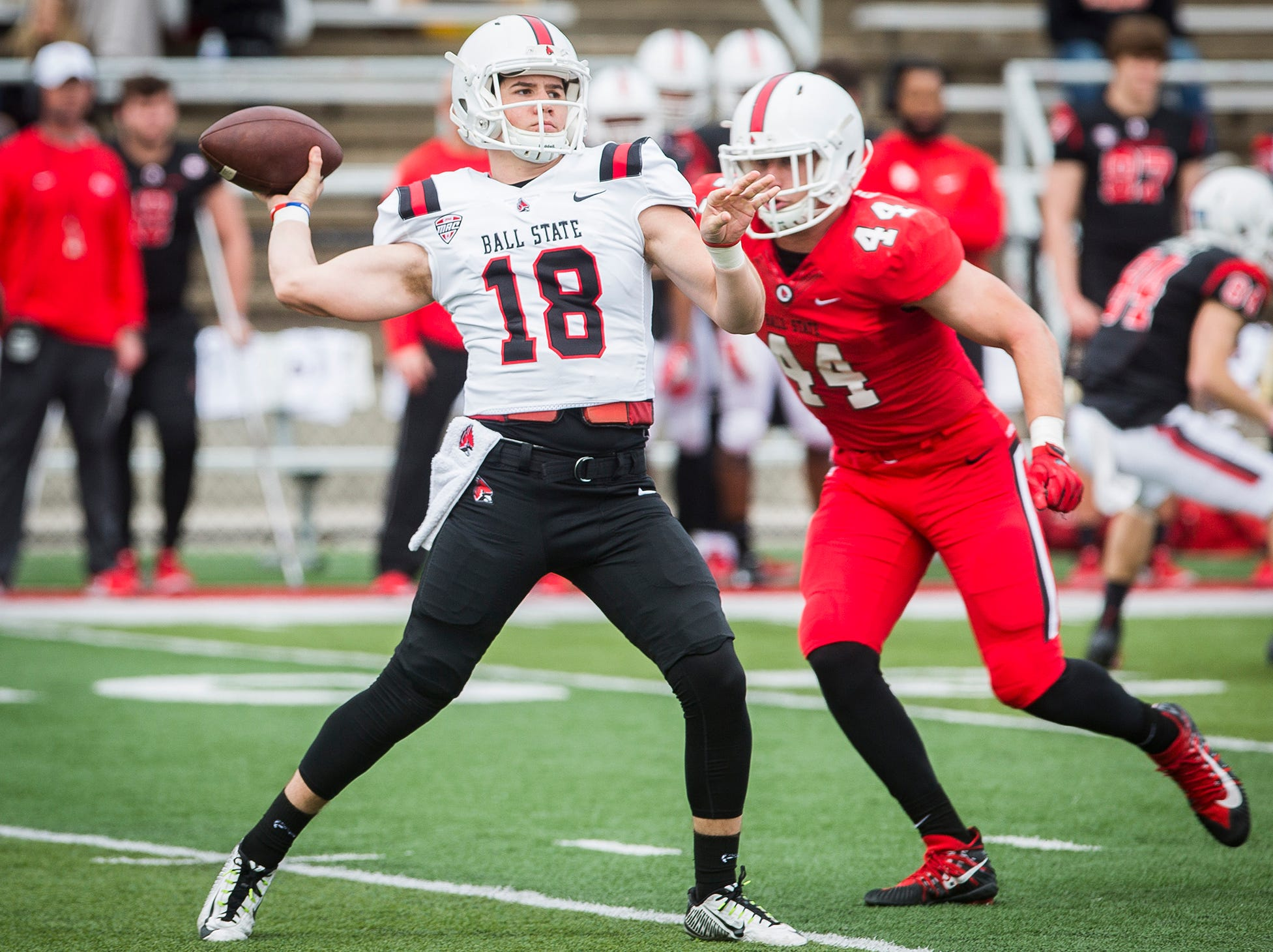 Ball State's John Paddock throws during the annual Spring Game at Scheumann Stadium Saturday, April 13, 2019.