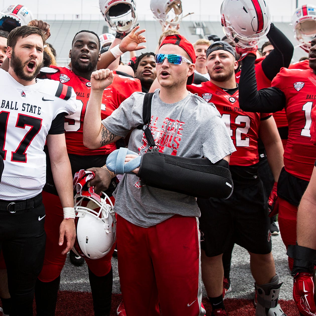 After nearly dying, Ball State football player lifts up everyone around him