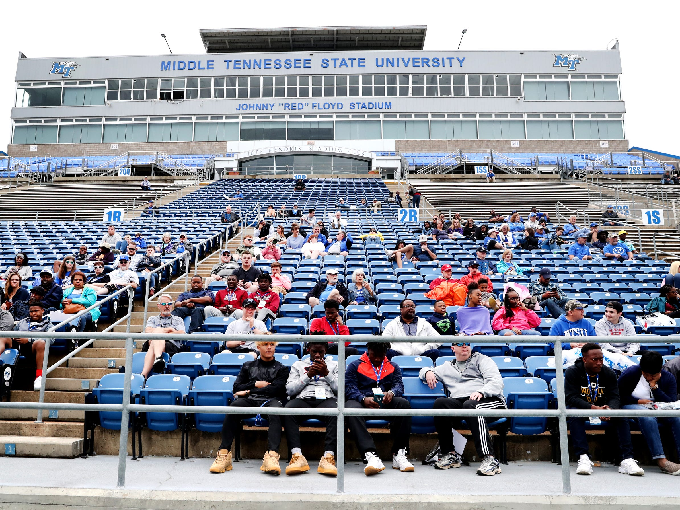"MTSU fans watch from the stands during MTSU's Blue-White Spring Finale held on Saturday April 13, 2019, at MTSU's Johnny ""Red"" Floyd Stadium."