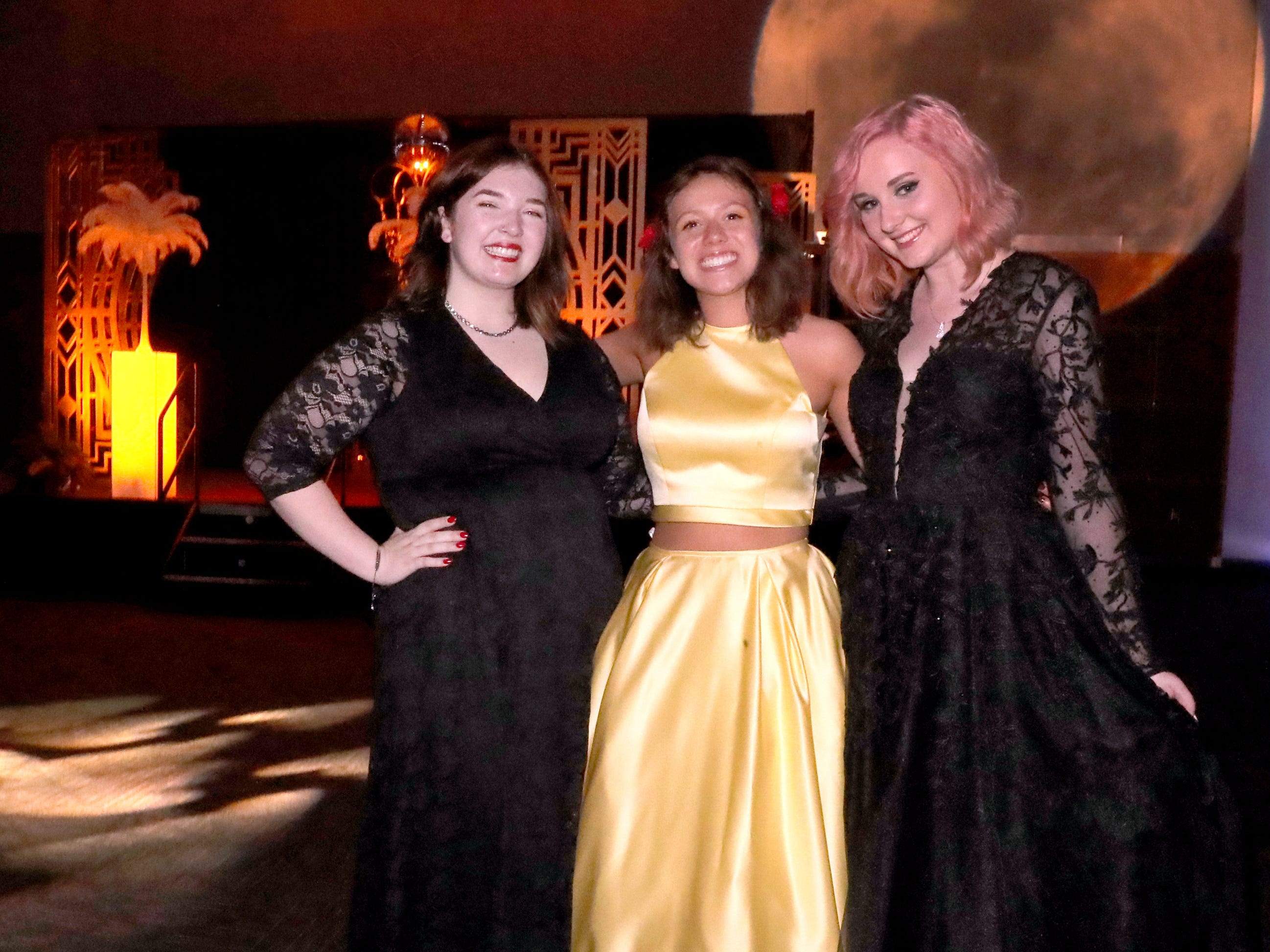 Emma Khake, left, Sage Johnson, center and Abby Crawford, right at Blackman's prom on Friday April 12, 2019, at MTSU.