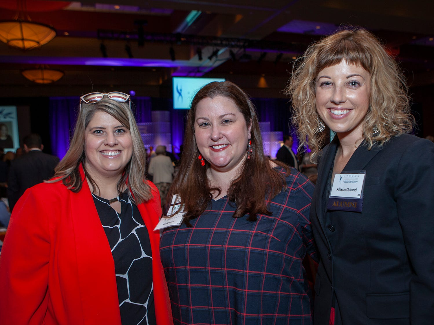 Missy Hartley, Katie Hall and Allison Oslund at the annual ATHENA Leadership Awards, hosted by Rutherford Cable Friday, April 12, 2019 at Embassy Suites Murfreesboro.