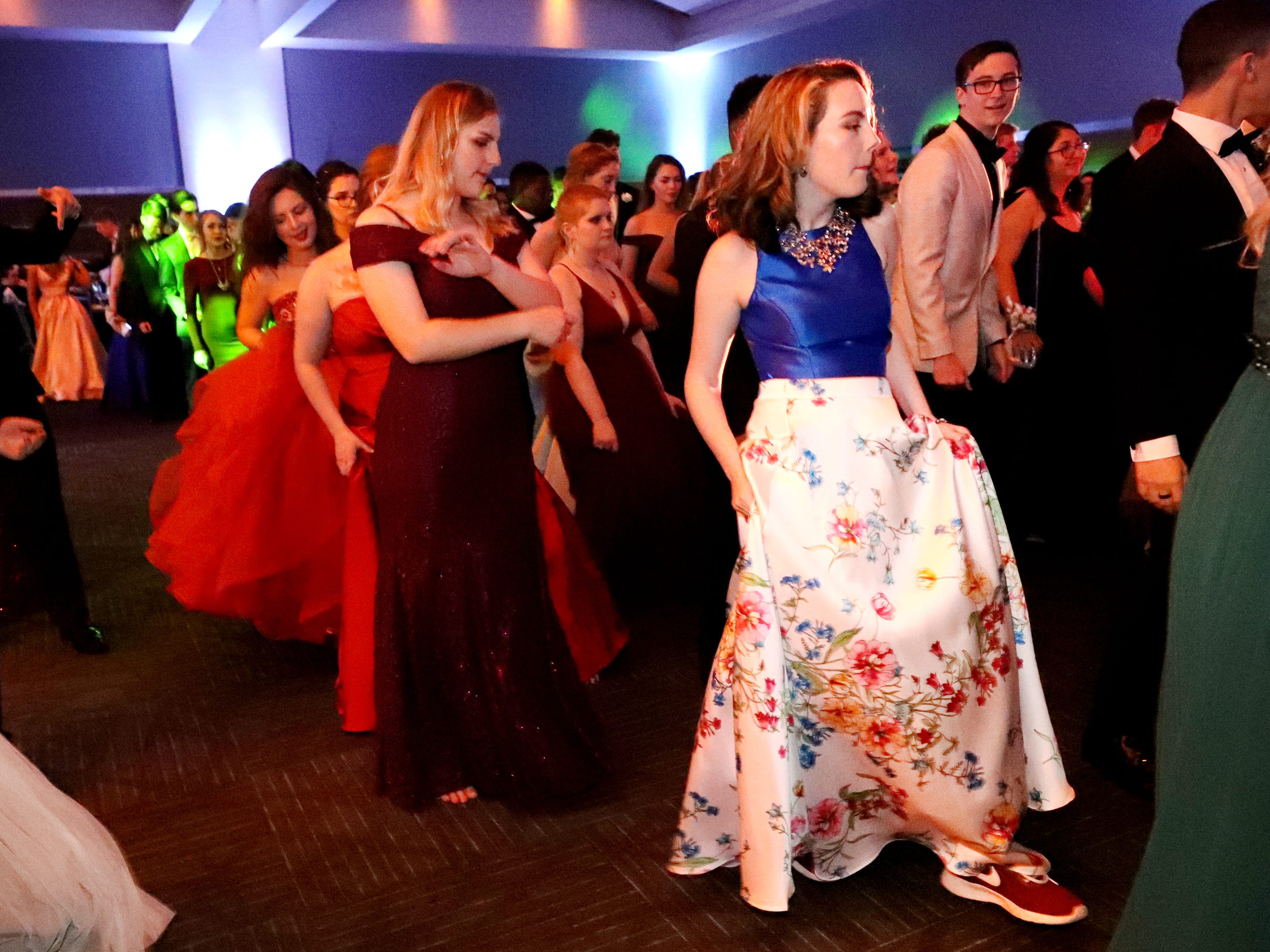 Floral dresses and athletic shoes were a popular combination at Blackman's prom on Friday April 12, 2019, at MTSU.