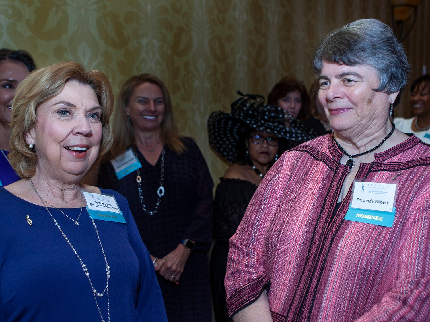 Smyrna Judge Lynn Alexander and Murfreesboro schools director Linda Gilbert wait backstage at the annual ATHENA Leadership Awards, hosted by Rutherford Cable Friday, April 12, 2019 at Embassy Suites Murfreesboro.